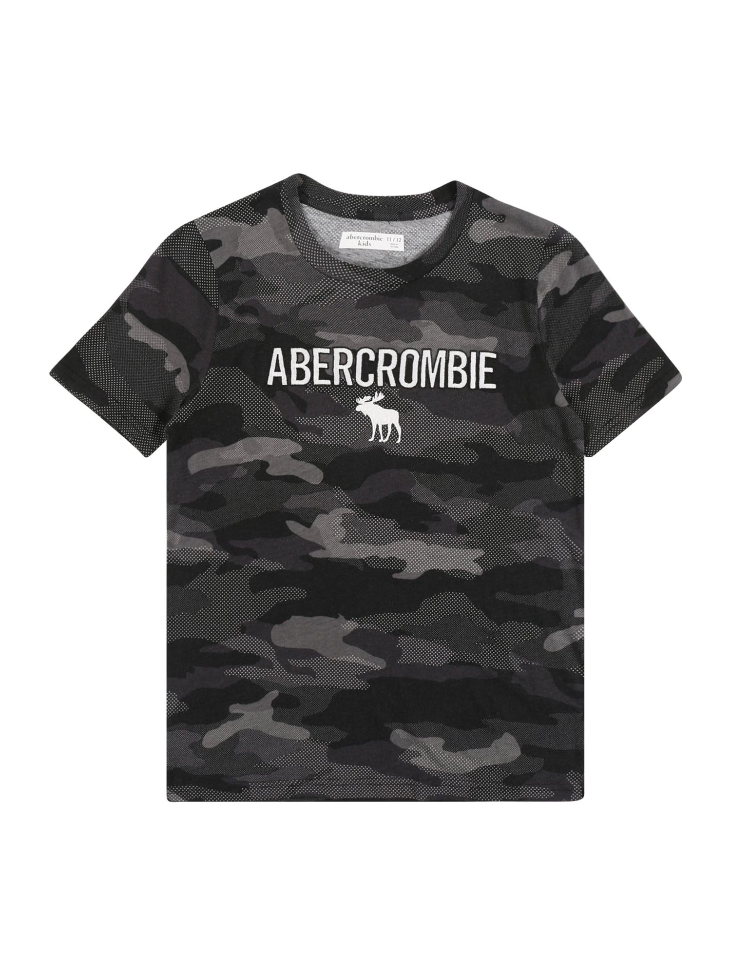 Abercrombie & Fitch Marškinėliai pilka / tamsiai pilka / balta
