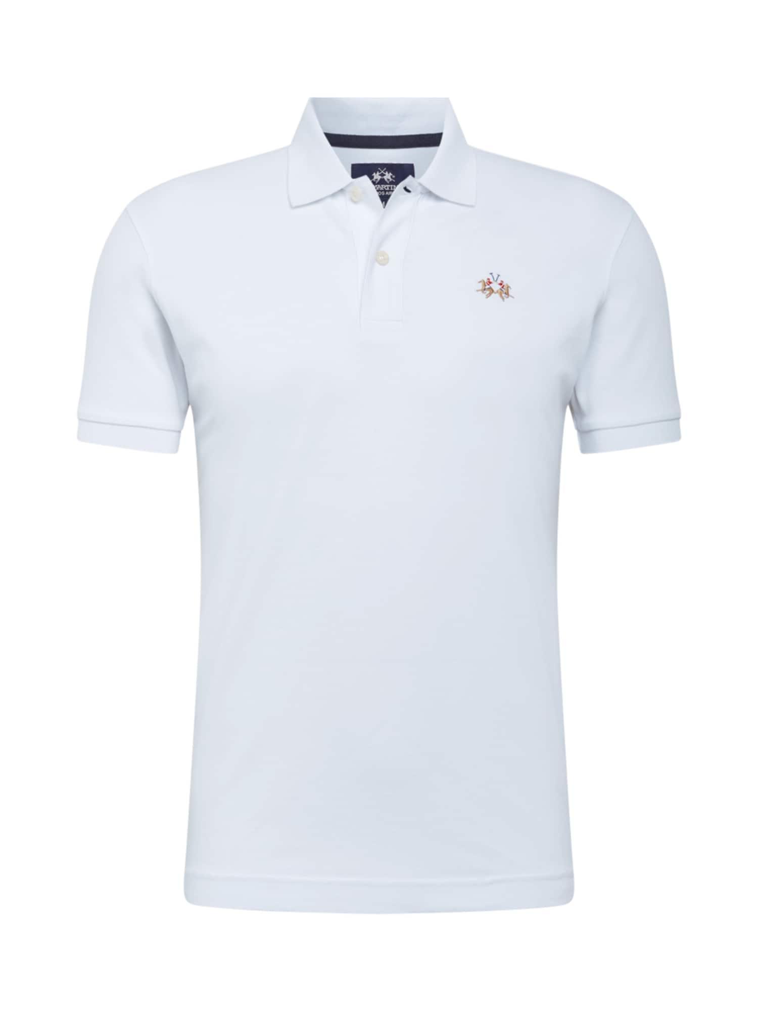 La Martina Marškinėliai natūrali balta / šviesiai mėlyna / šviesiai ruda / raudona
