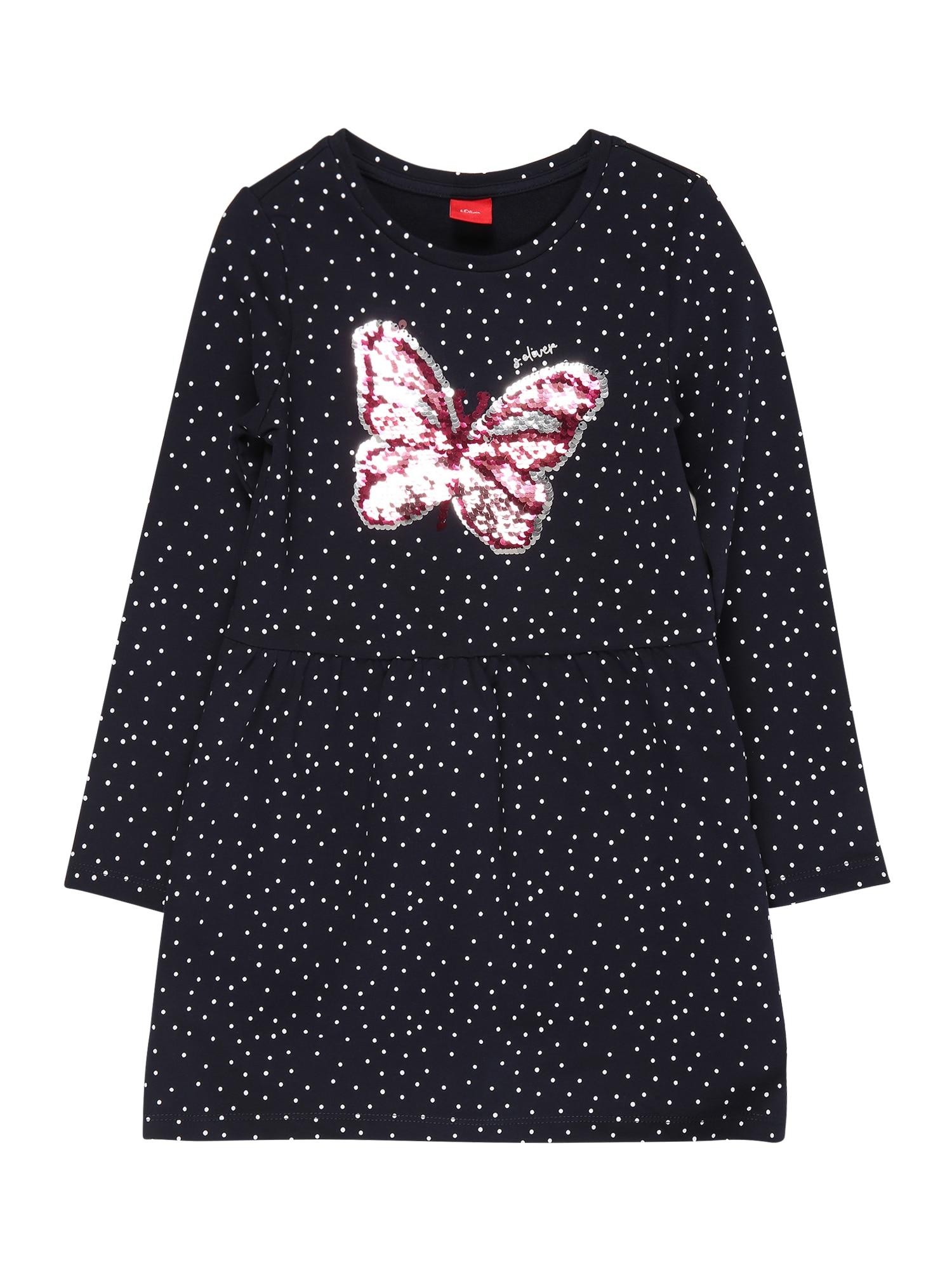 s.Oliver Junior Šaty  ružová / tmavomodrá / biela