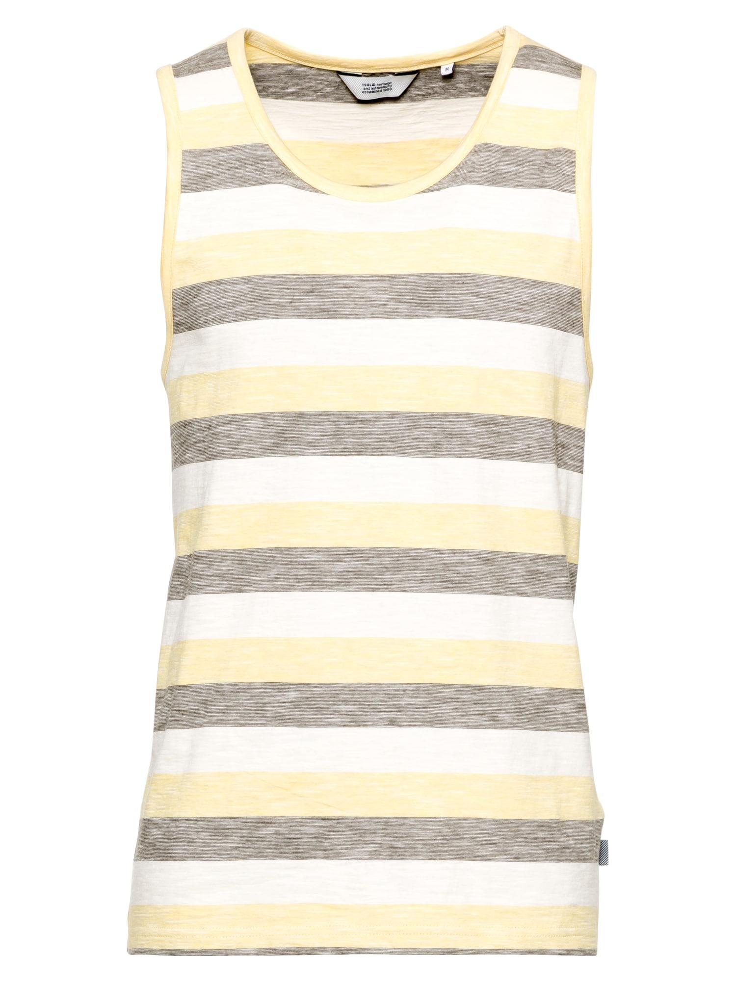 !Solid Marškinėliai balta / margai pilka / geltona