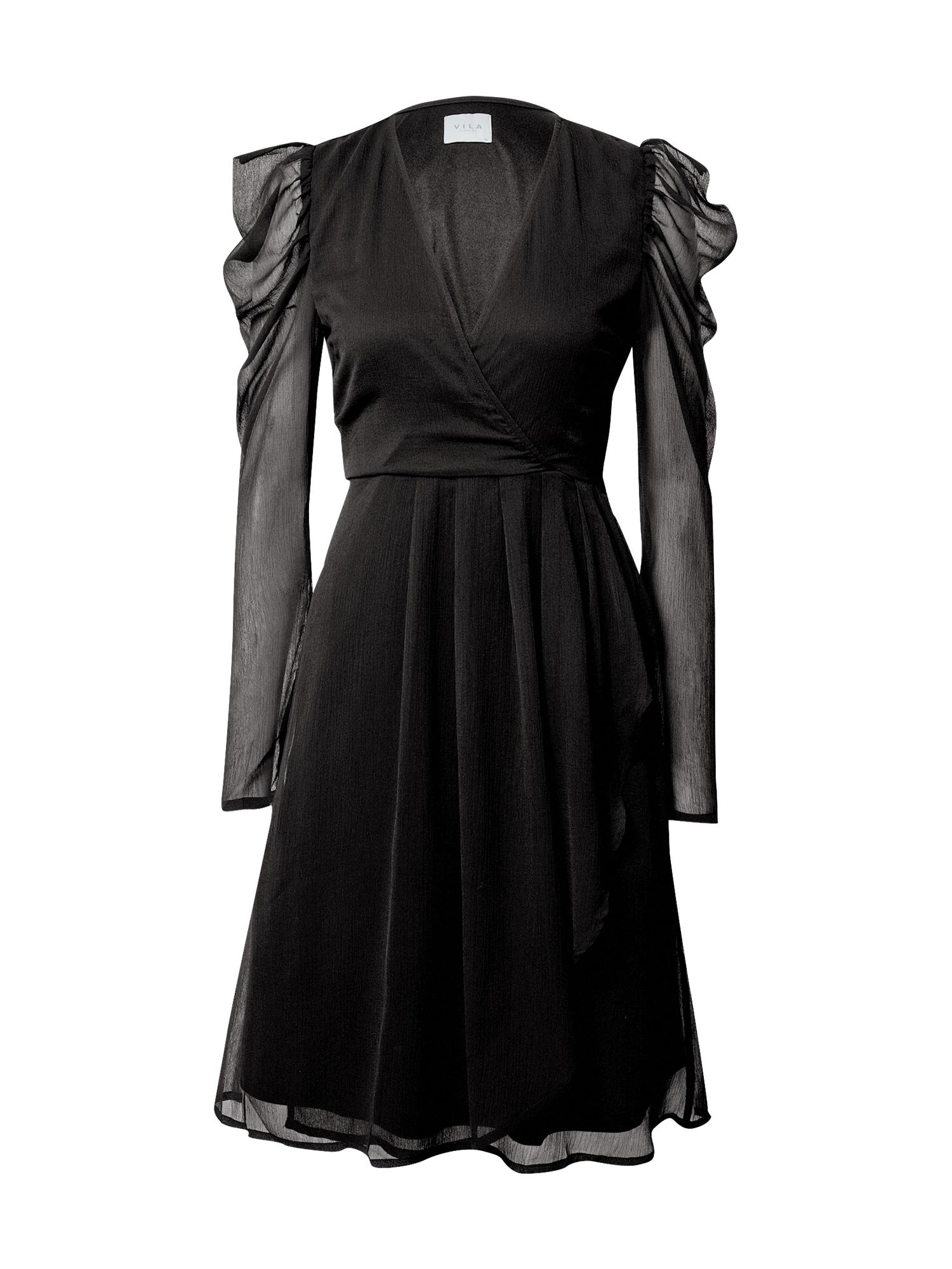 VILA Koktejlové šaty  černá