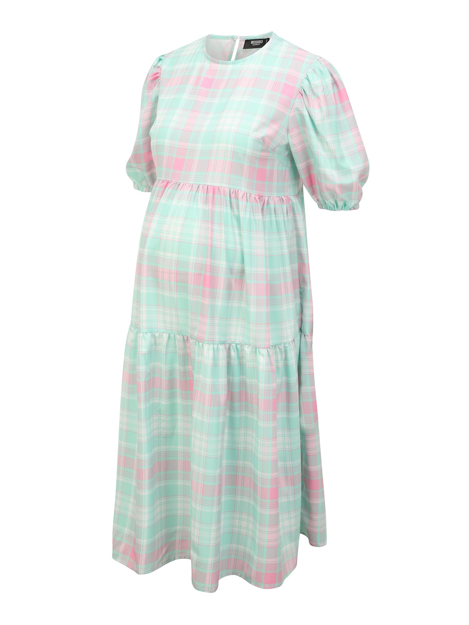 Missguided Maternity Suknelė nefrito spalva / šviesiai rožinė / balta
