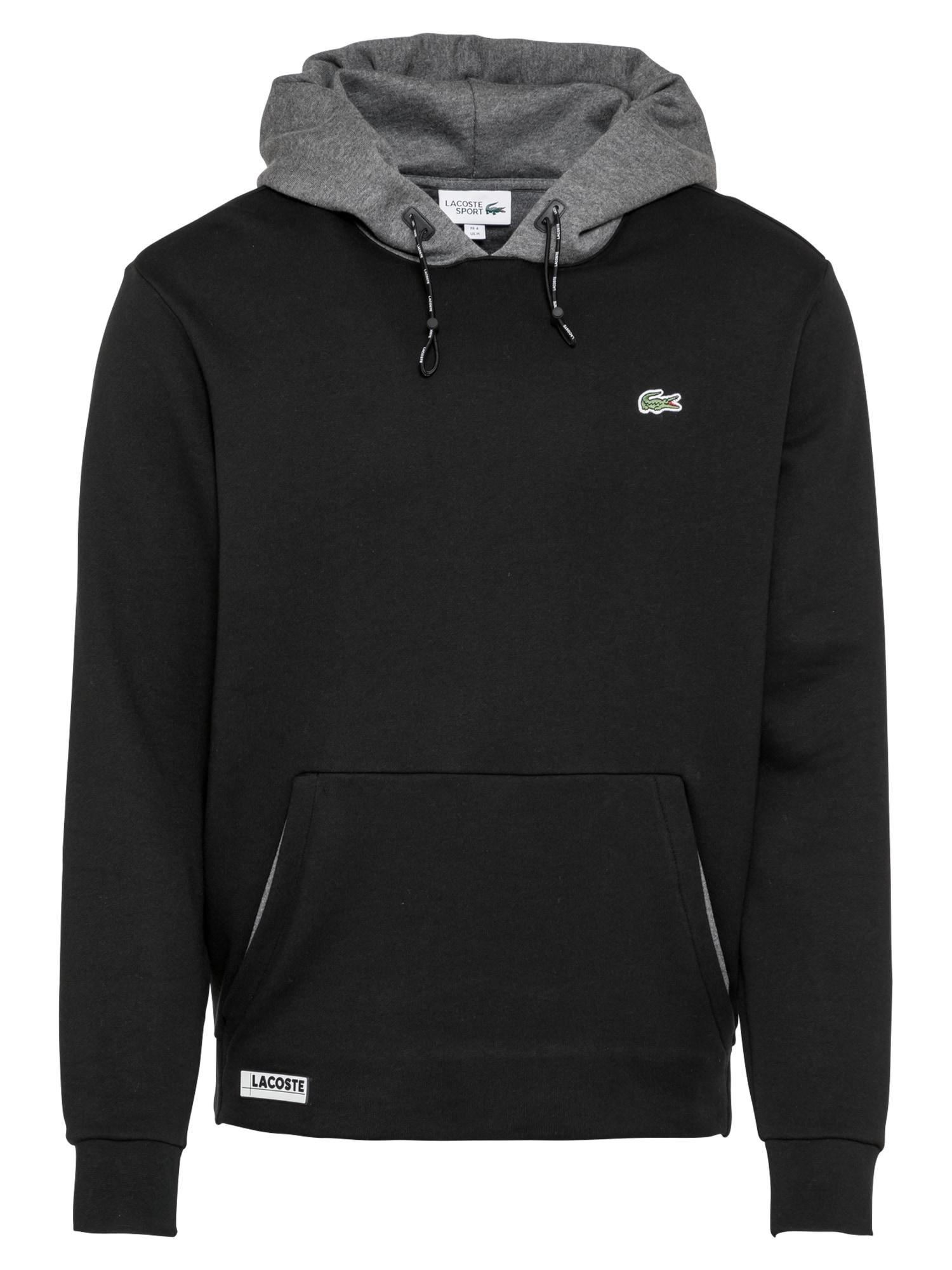 Lacoste Sport Sportinio tipo megztinis juoda / margai pilka