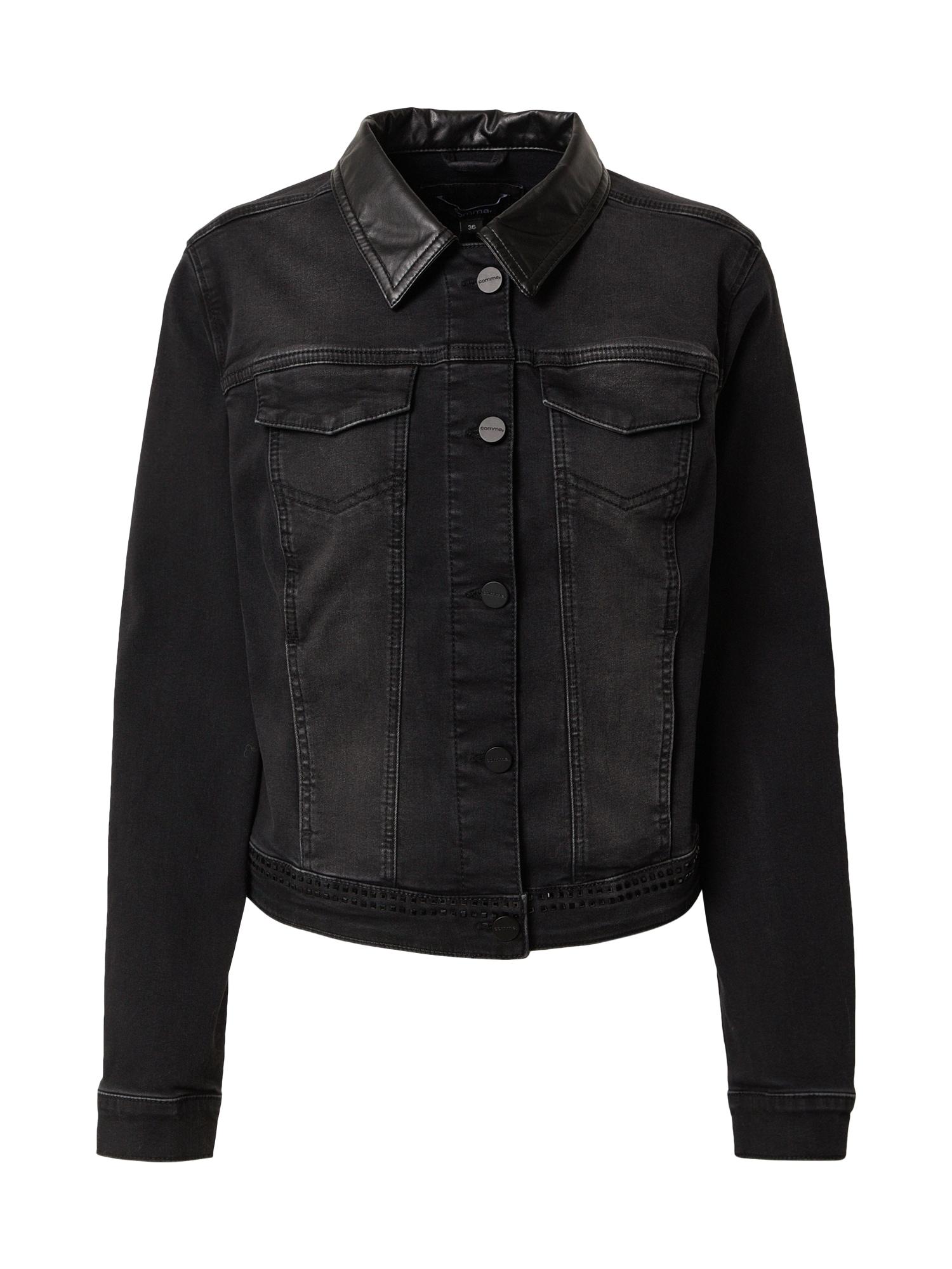 COMMA Demisezoninė striukė juodo džinso spalva
