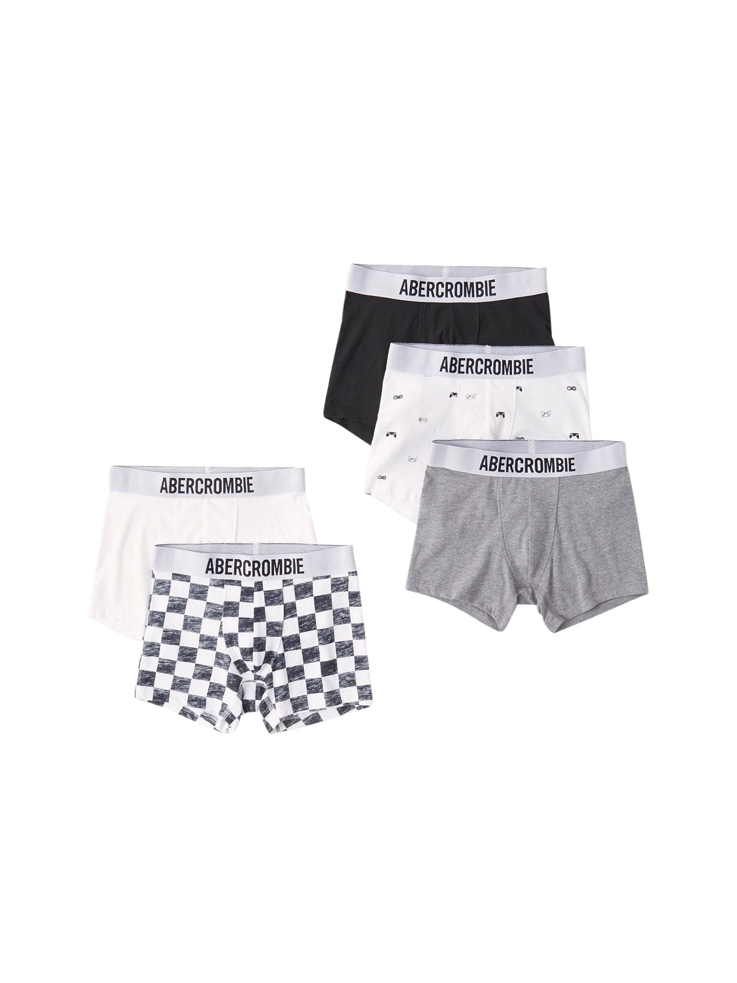 Abercrombie & Fitch Apatinės kelnaitės balta / juoda / pastelinė rožinė / margai pilka