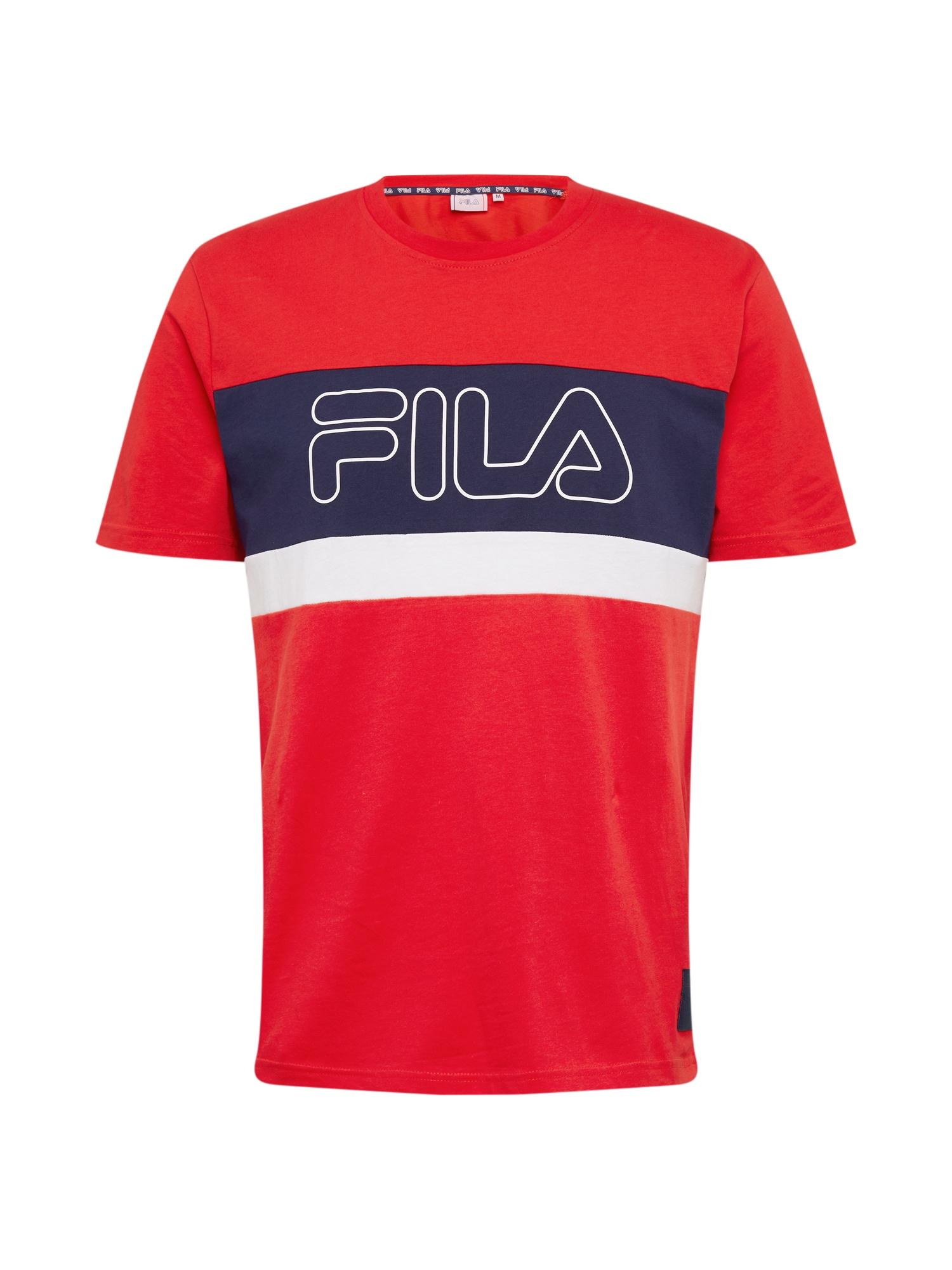 FILA Funkční tričko 'LAURENS'  bílá / ohnivá červená / černá