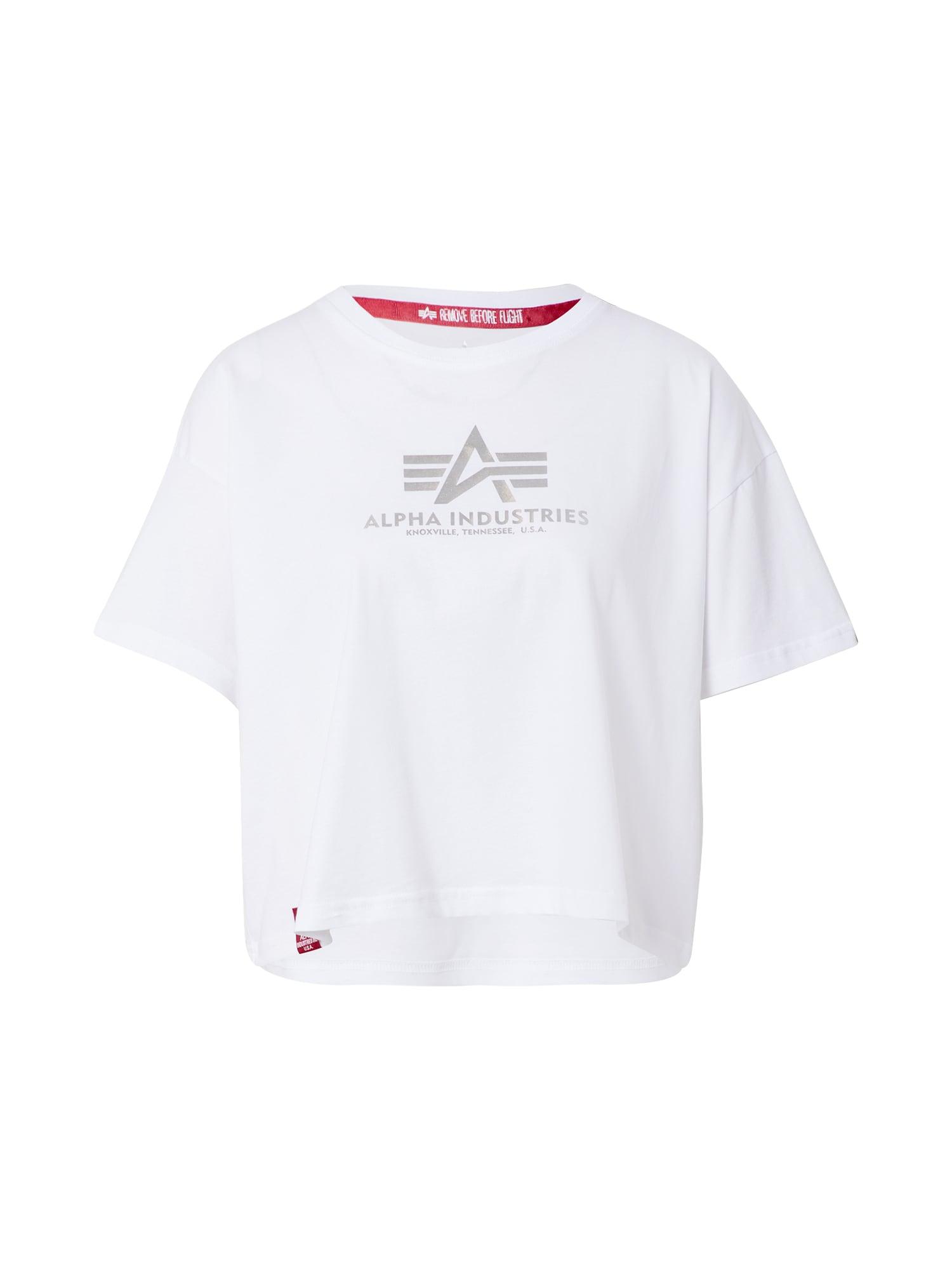 ALPHA INDUSTRIES Marškinėliai pilka / balta