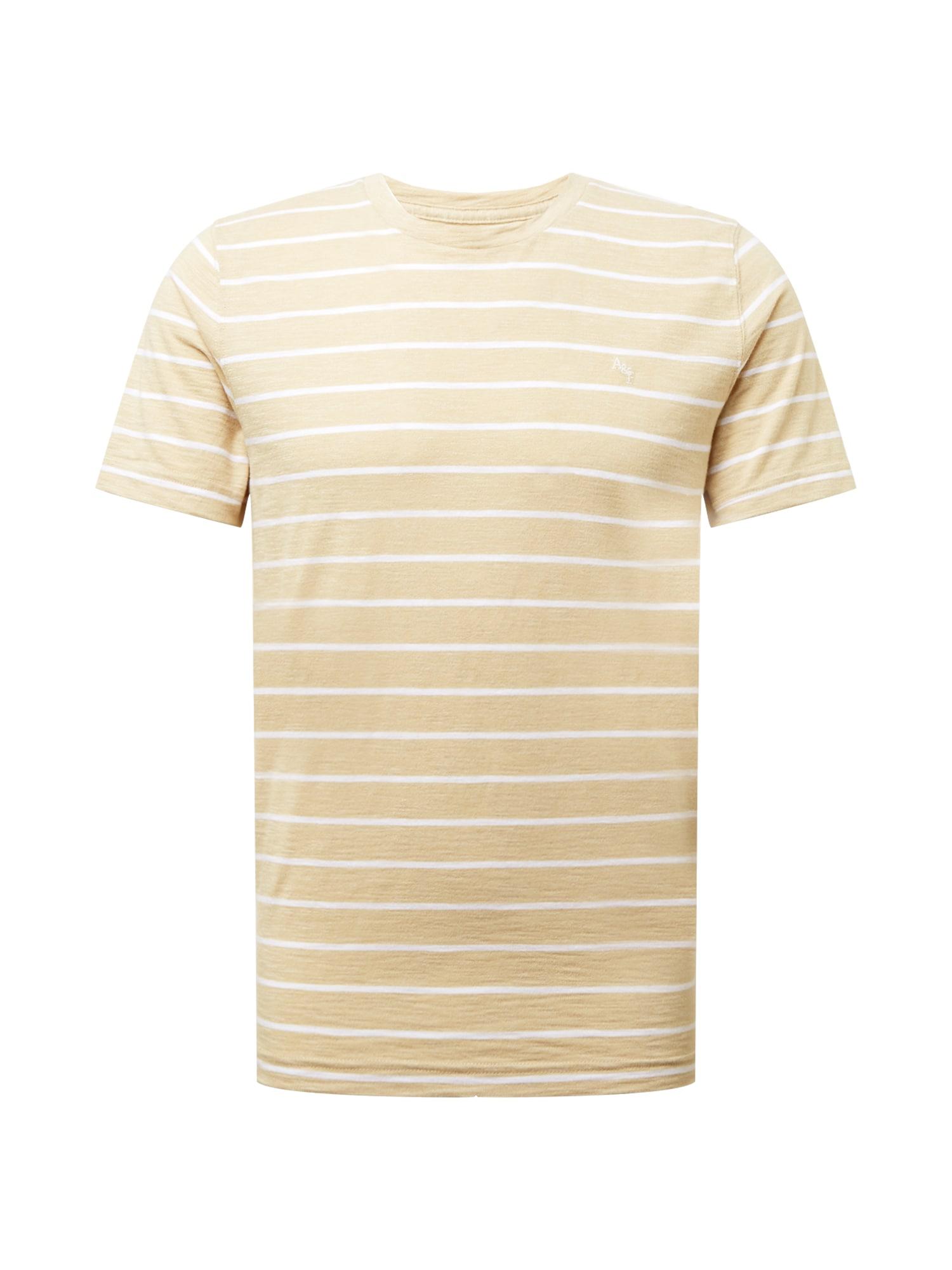 Abercrombie & Fitch Marškinėliai gelsvai pilka spalva / smėlio / balta