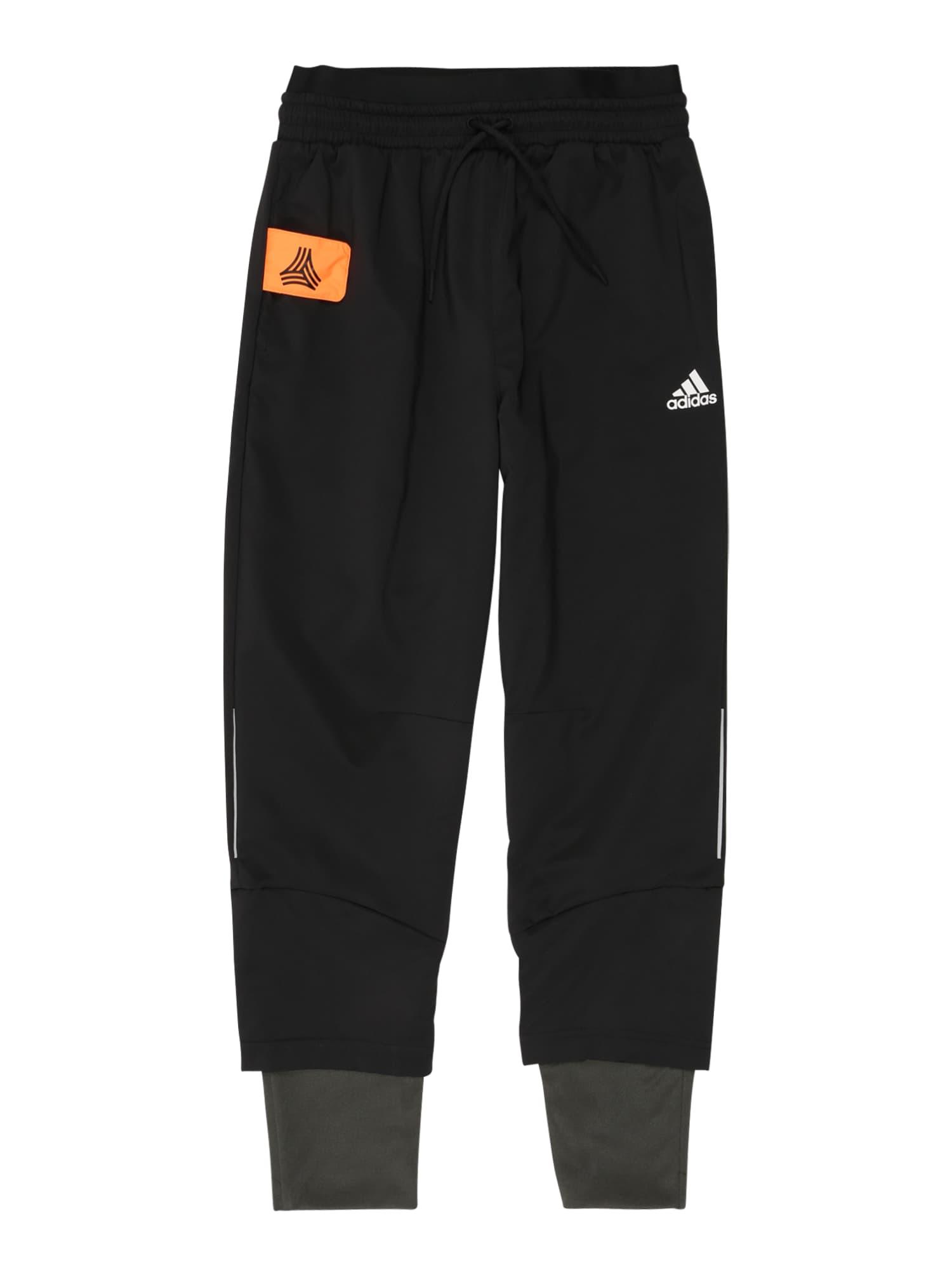 ADIDAS PERFORMANCE Sportinės kelnės juoda / balta / oranžinė