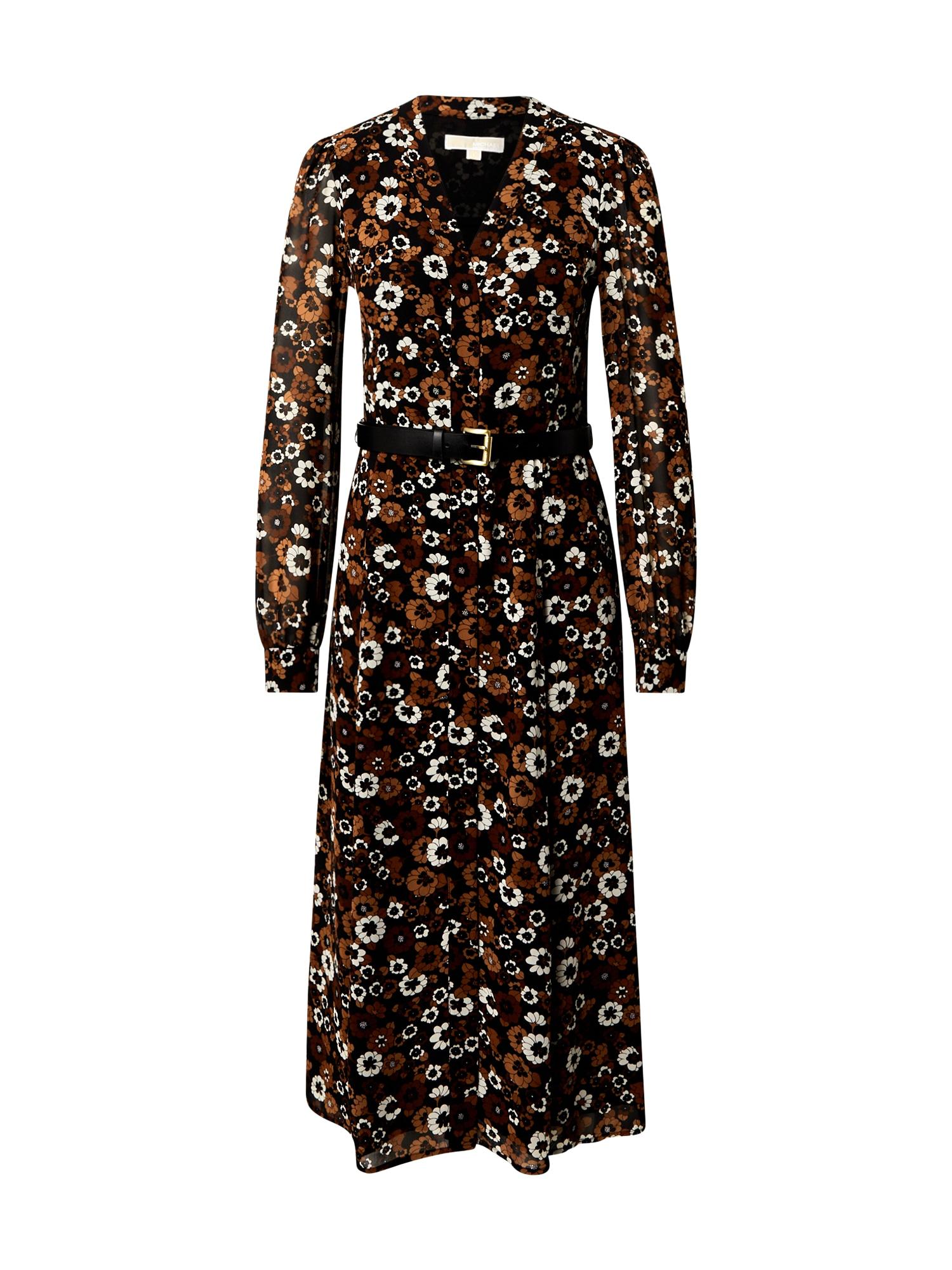 MICHAEL Michael Kors Palaidinės tipo suknelė ruda / balta / juoda