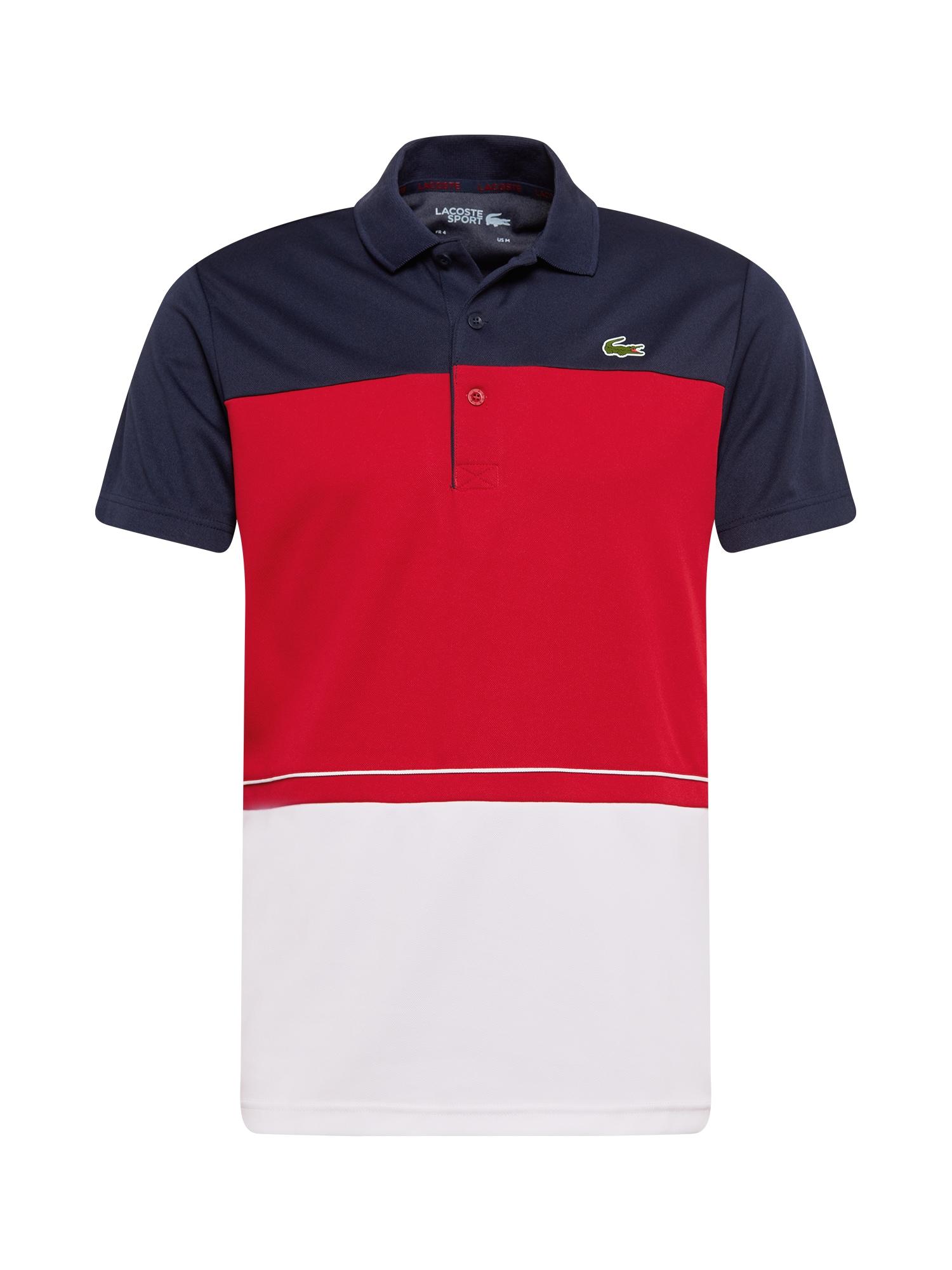 Lacoste Sport Sportiniai marškinėliai balta / raudona / tamsiai mėlyna