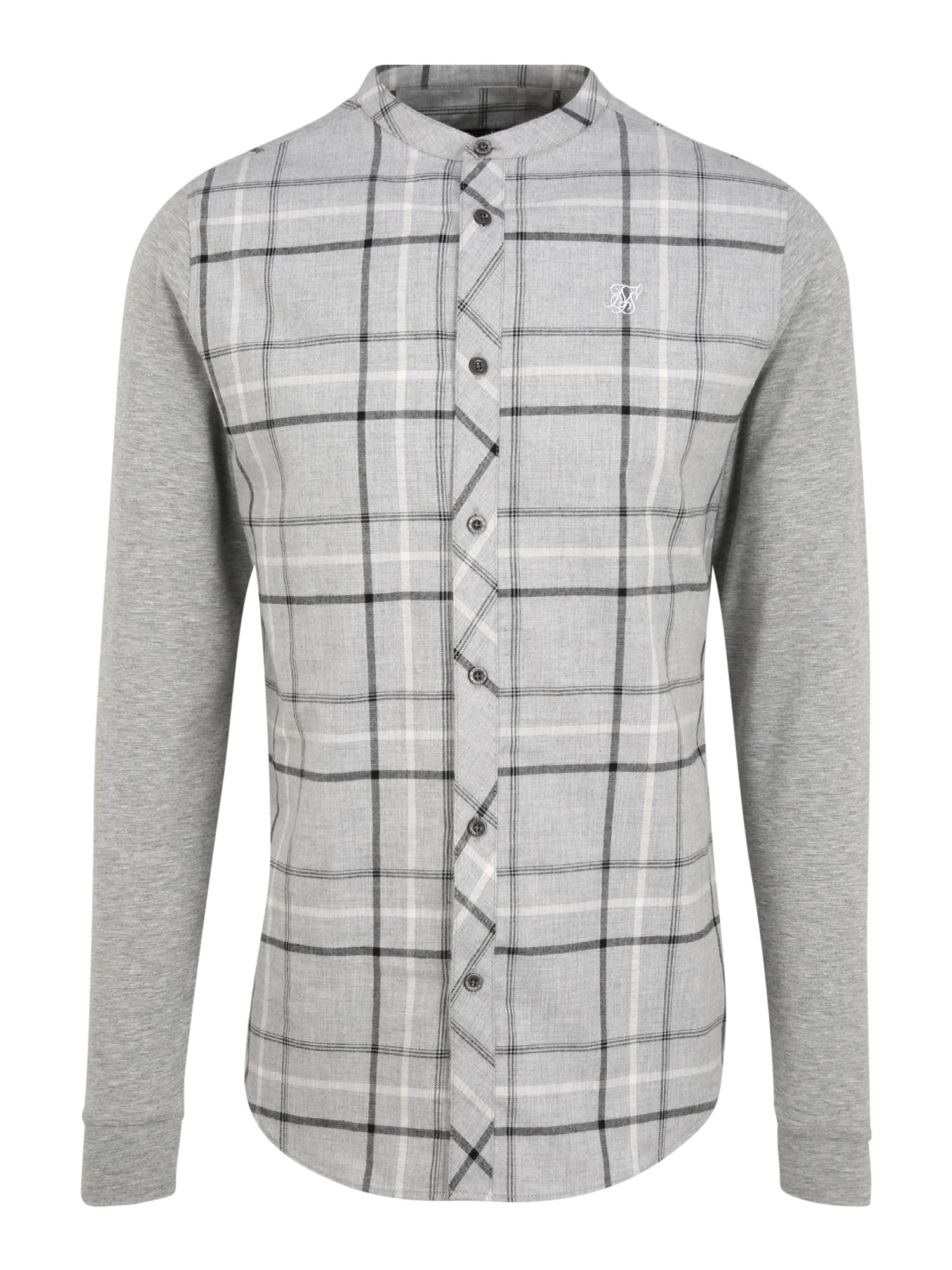 SikSilk Marškiniai margai pilka / balta / margai juoda