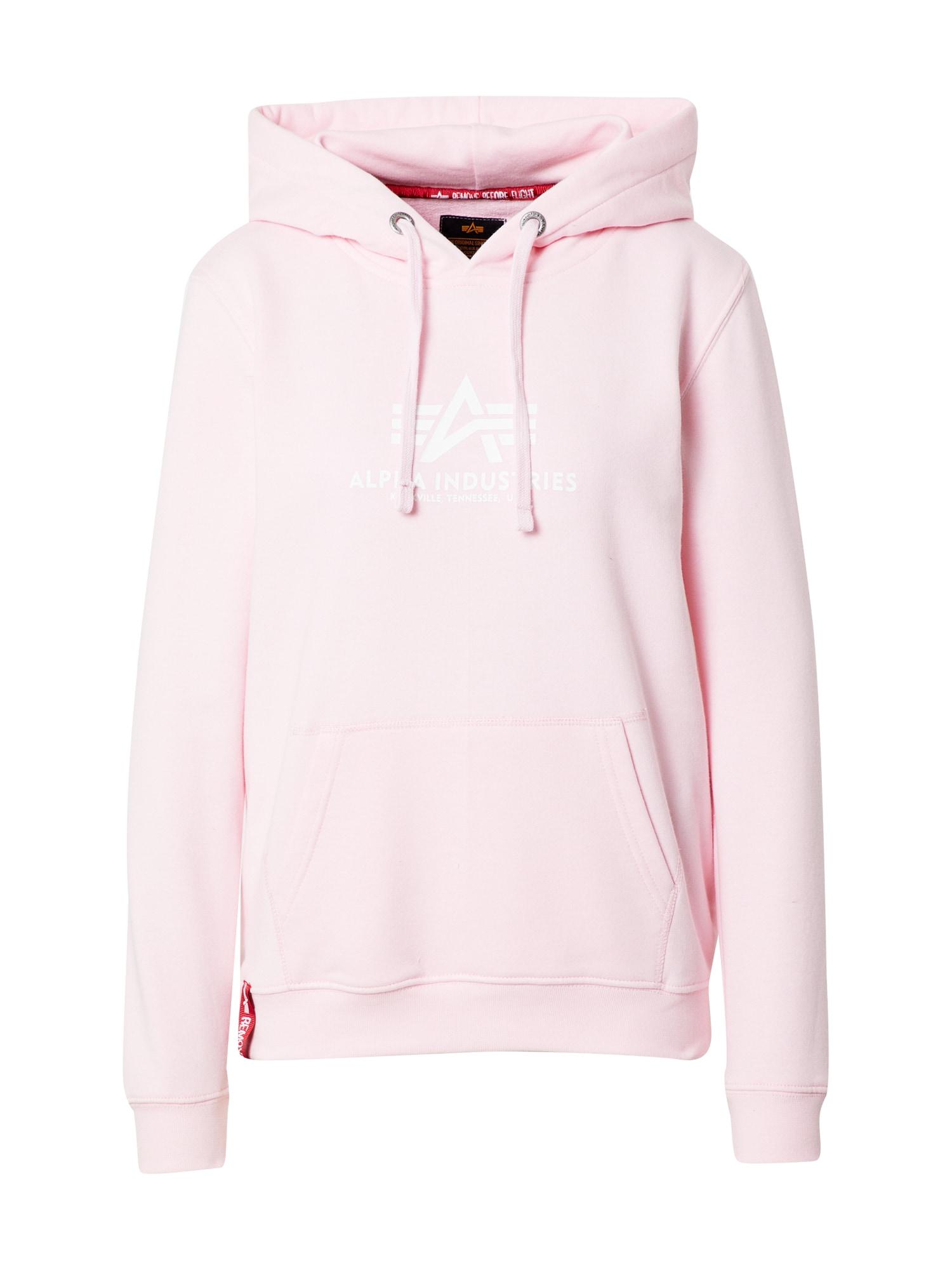 ALPHA INDUSTRIES Megztinis be užsegimo pastelinė rožinė / balta