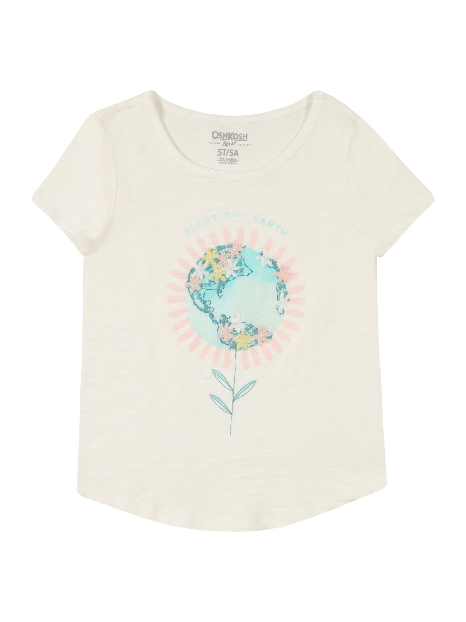 OshKosh Marškinėliai balta / turkio spalva / rožių spalva / geltona