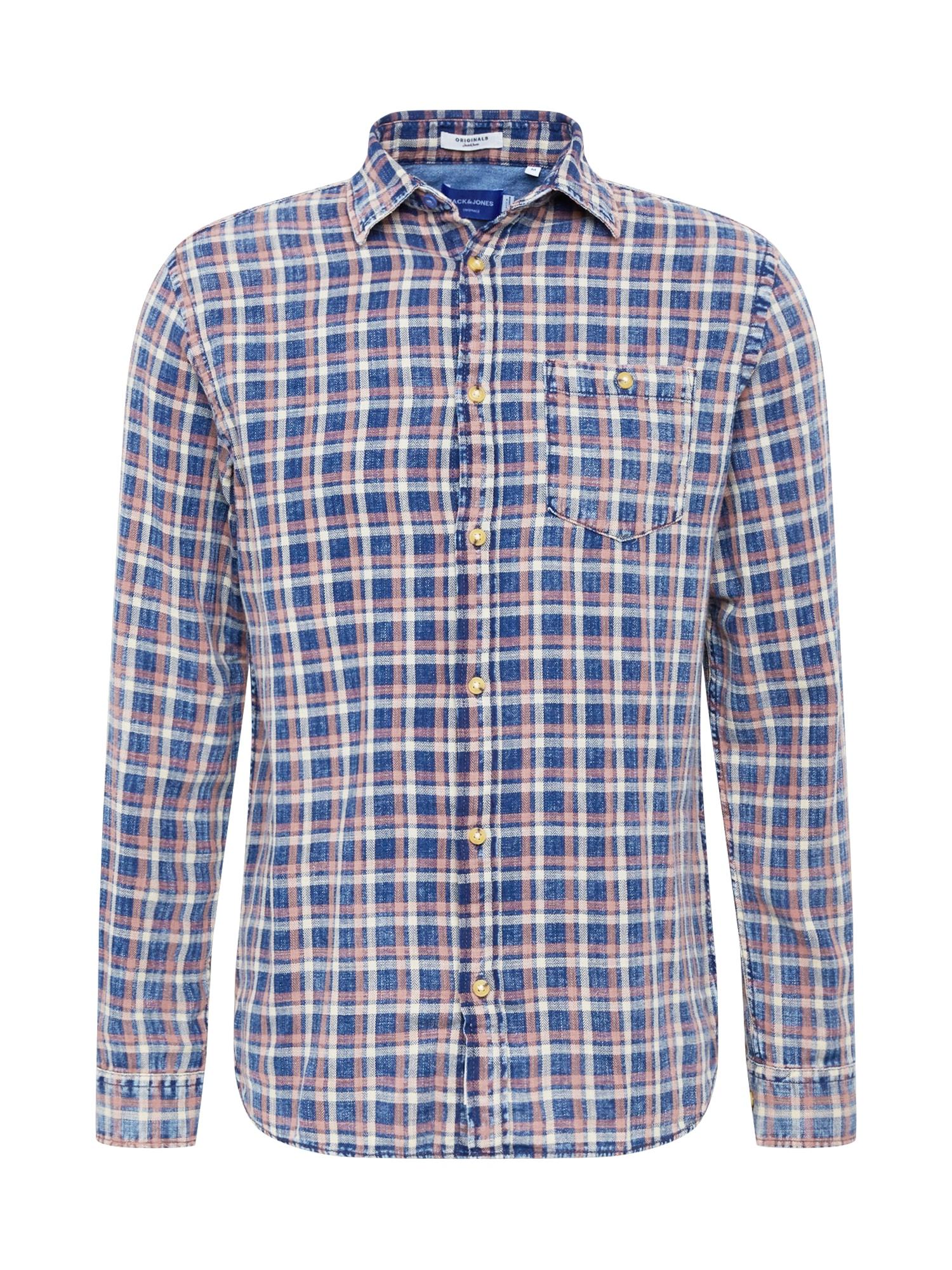 JACK & JONES Košile 'HANS'  hnědá / nebeská modř / bílá