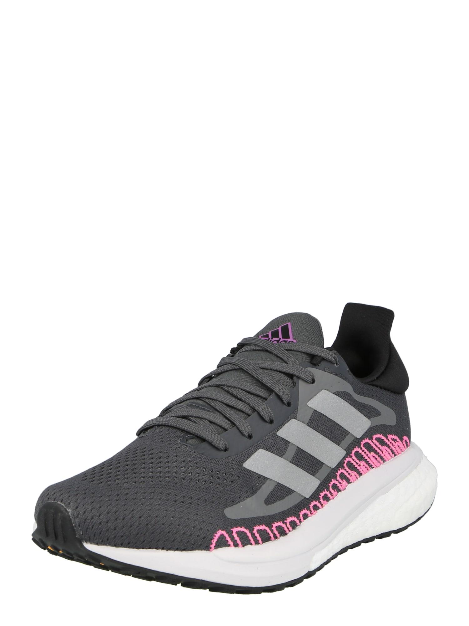 ADIDAS PERFORMANCE Bėgimo batai juoda / tamsiai rožinė / pilka