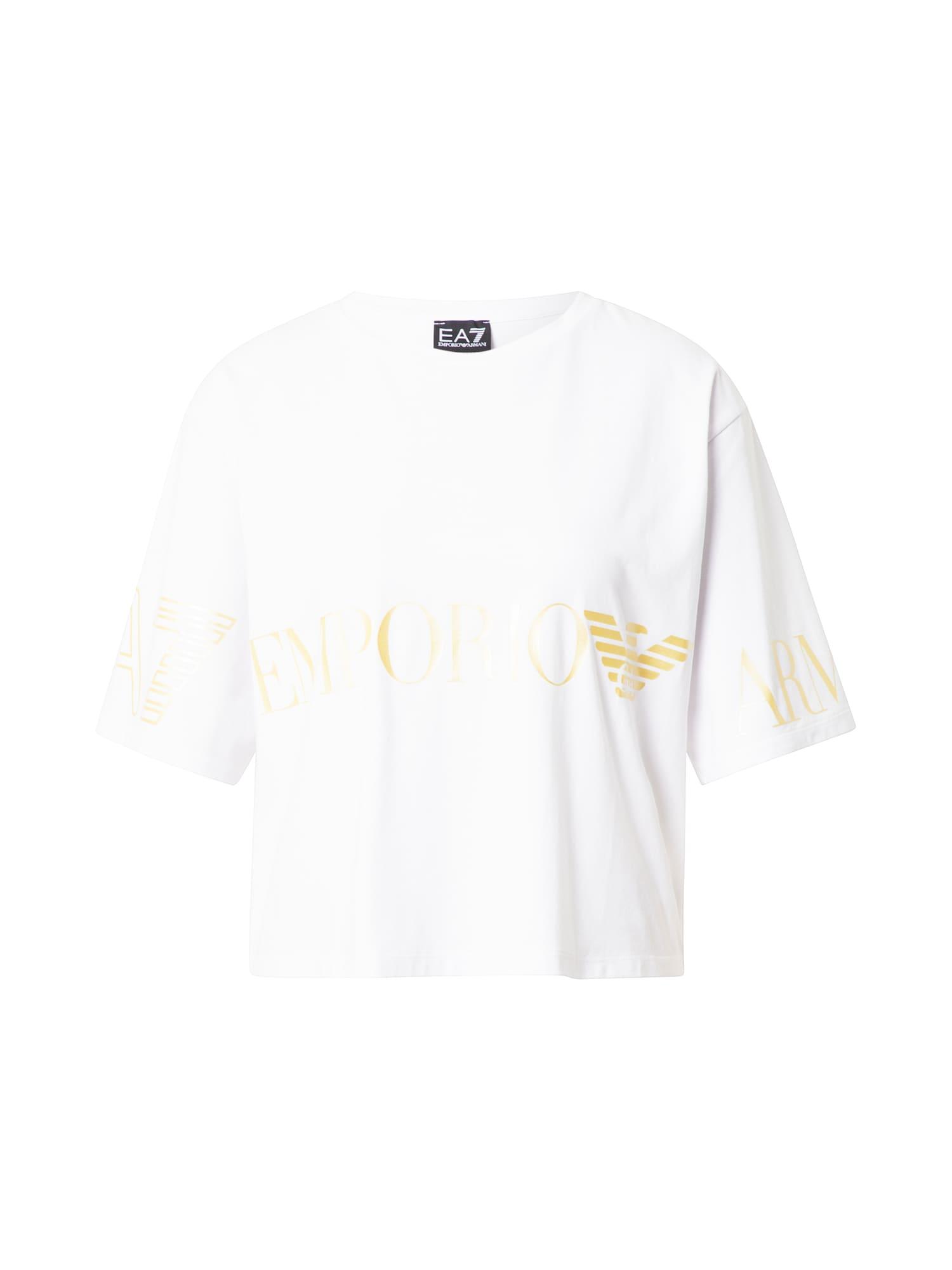 EA7 Emporio Armani Marškinėliai balta / auksas