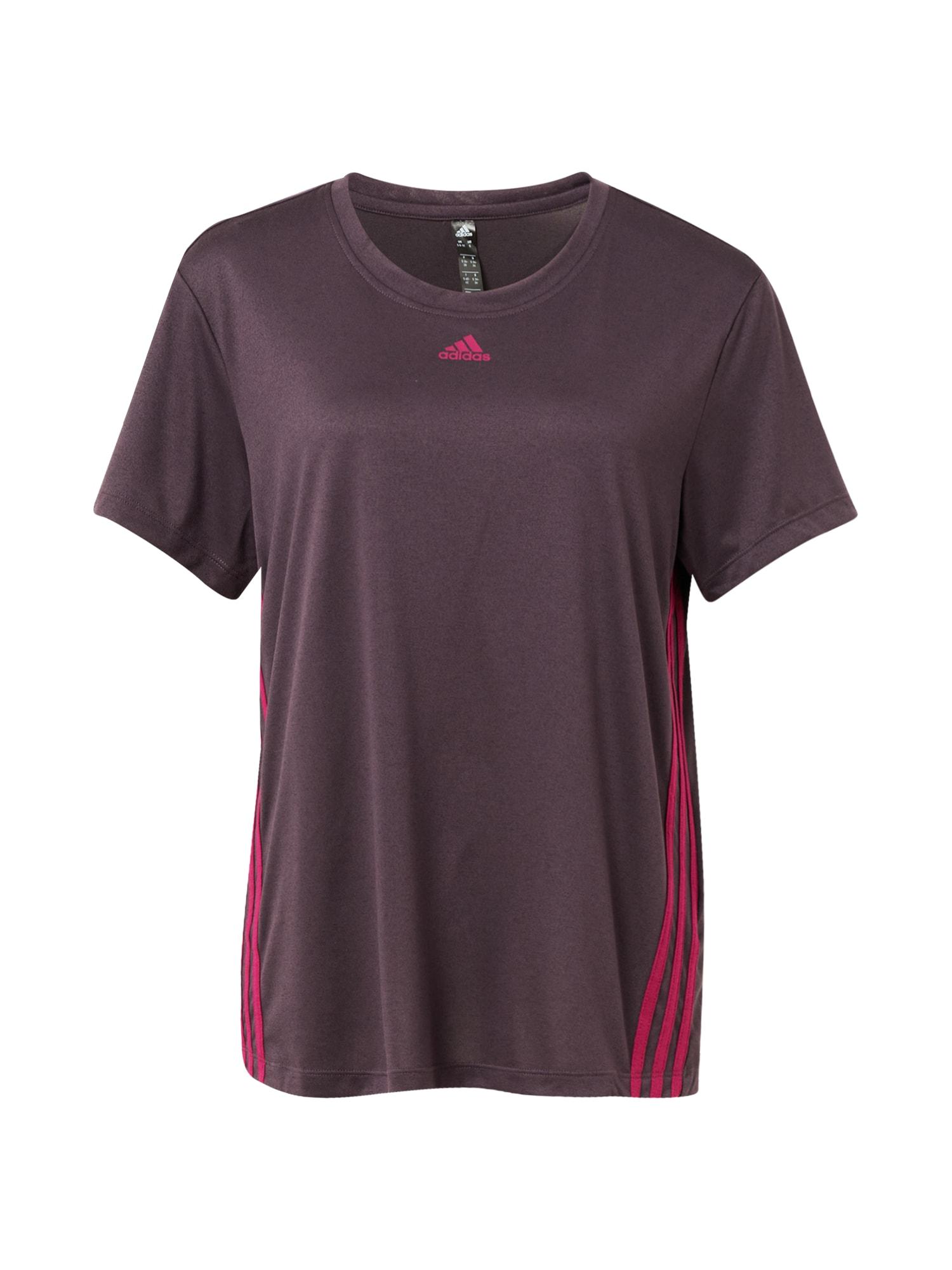 ADIDAS PERFORMANCE Sportiniai marškinėliai baklažano spalva / tamsiai rožinė