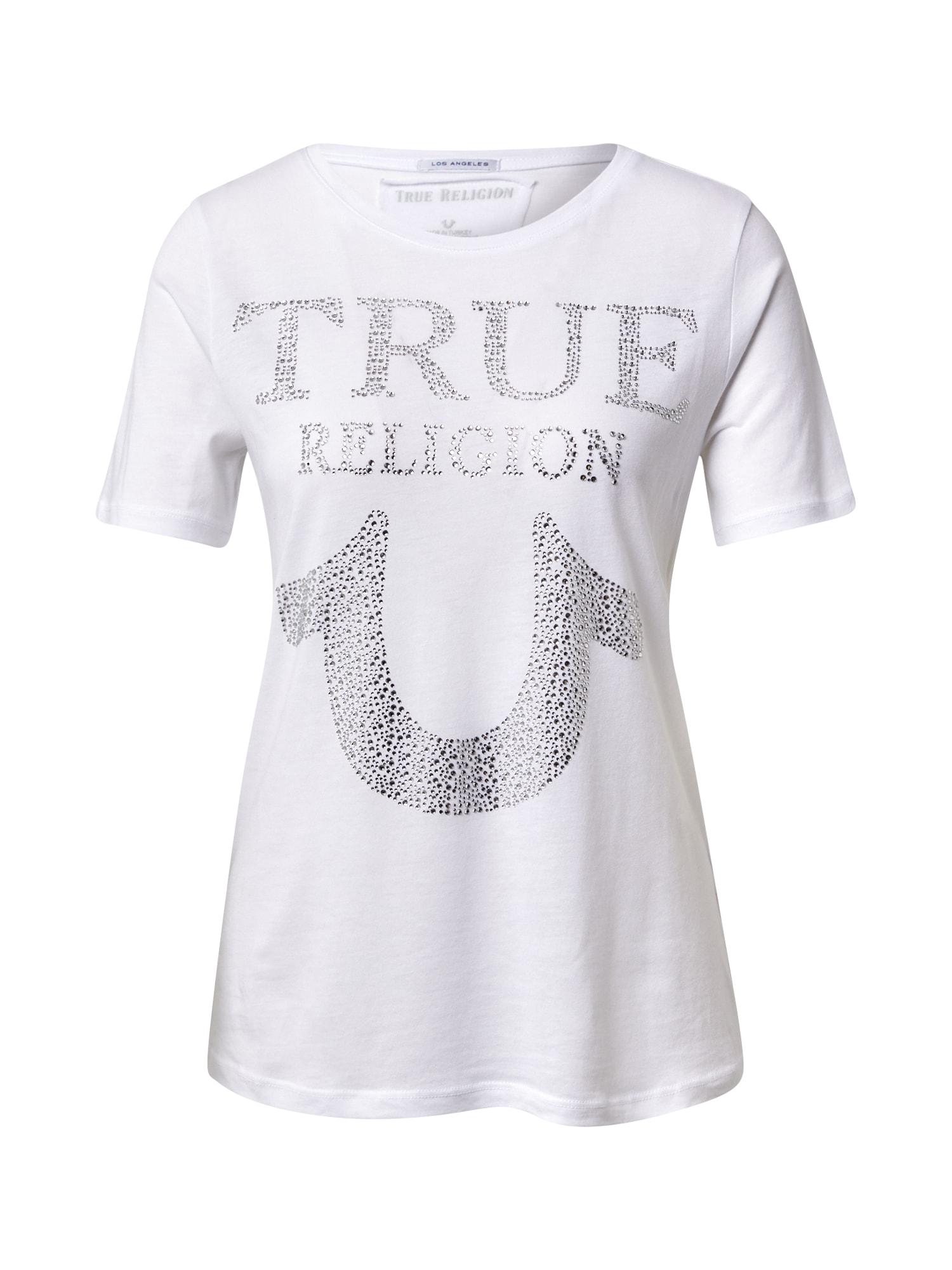 True Religion Marškinėliai balta / sidabrinė