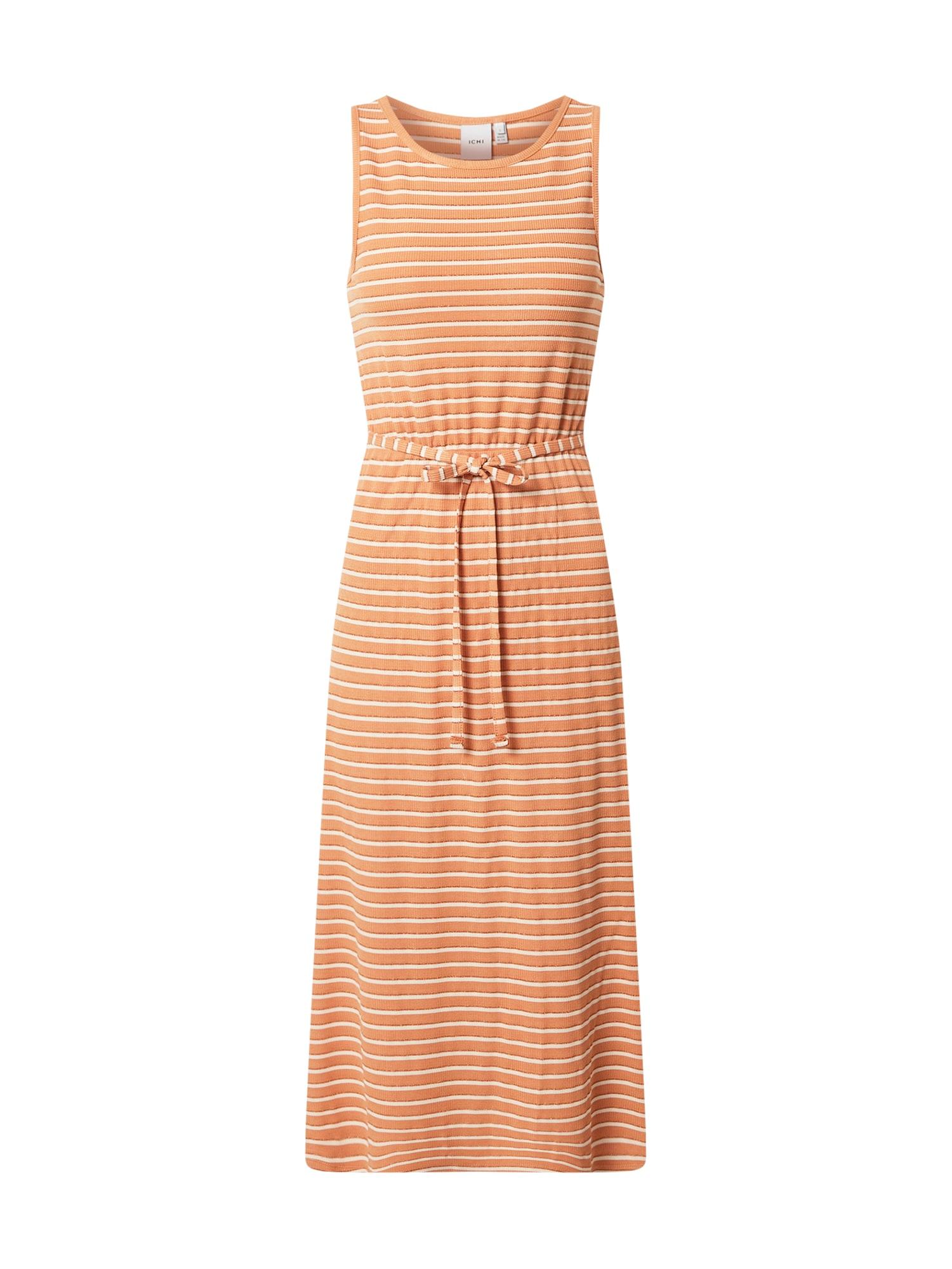 ICHI Vasarinė suknelė balta / pastelinė oranžinė