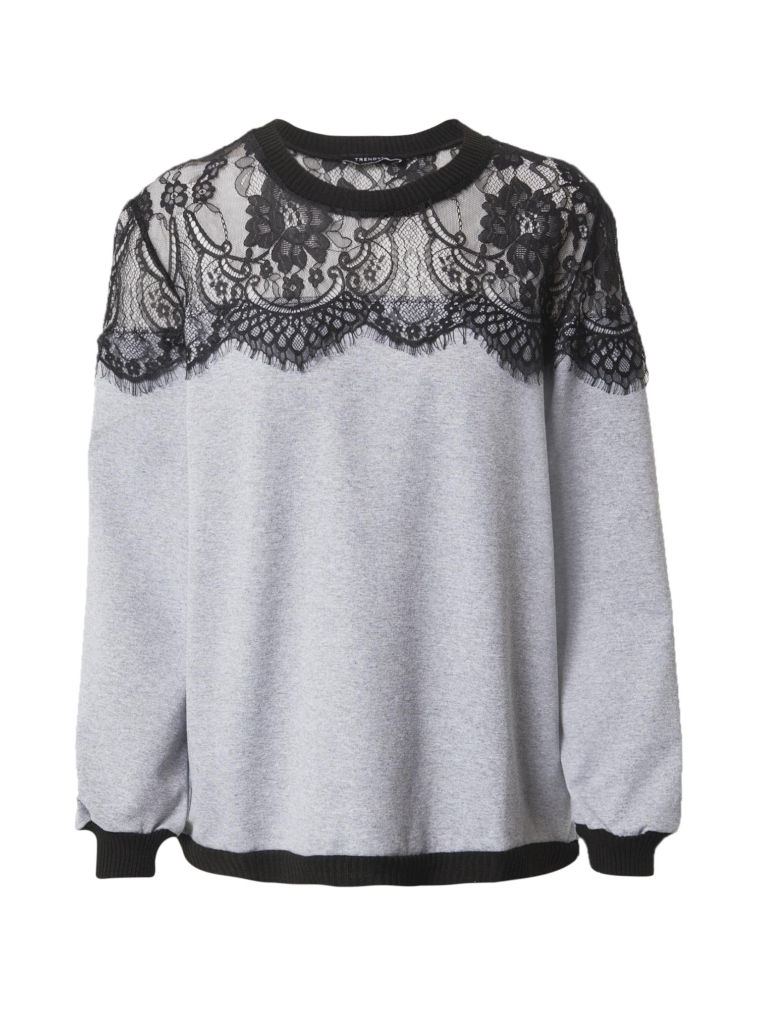 Trendyol Megztinis be užsegimo margai pilka / juoda