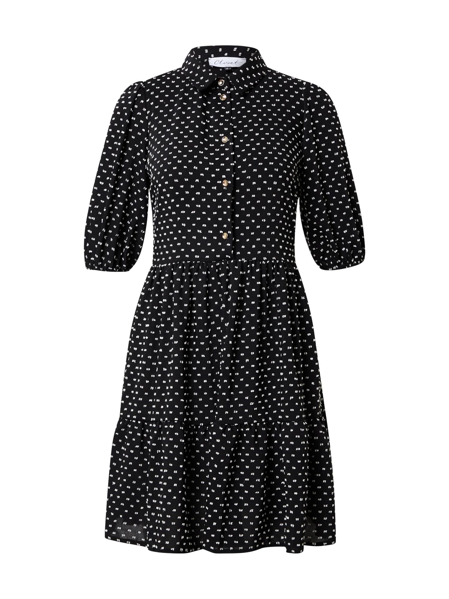 Closet London Palaidinės tipo suknelė juoda / balta