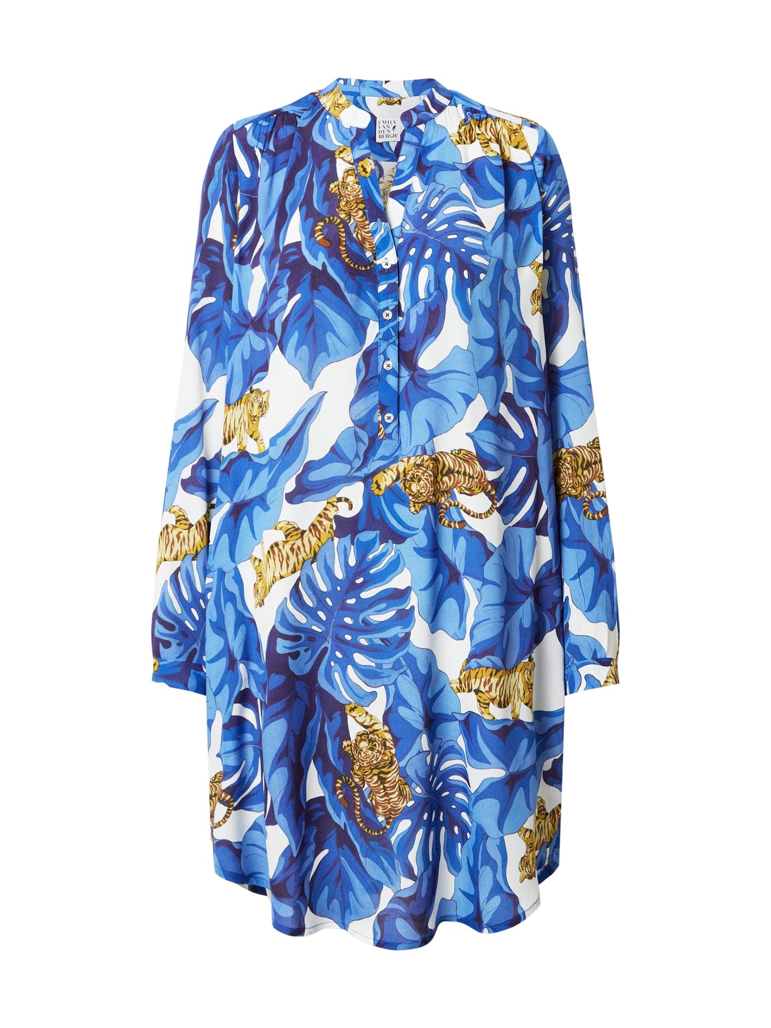 Emily Van Den Bergh Palaidinės tipo suknelė mėlyna / balta / ruda / tamsiai mėlyna
