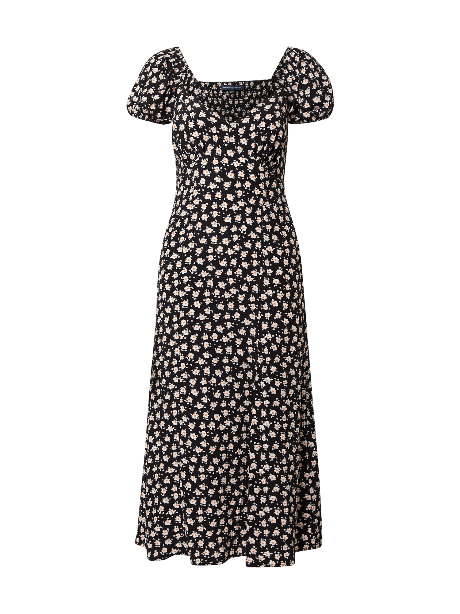 FRENCH CONNECTION Suknelė juoda / balta / tamsiai oranžinė