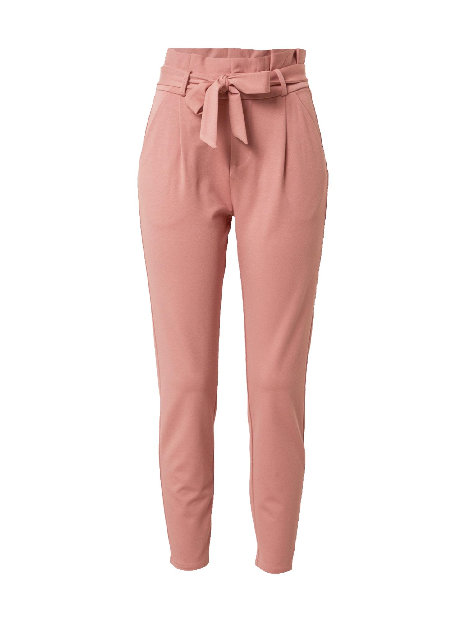 VERO MODA Klostuotos kelnės ryškiai rožinė spalva