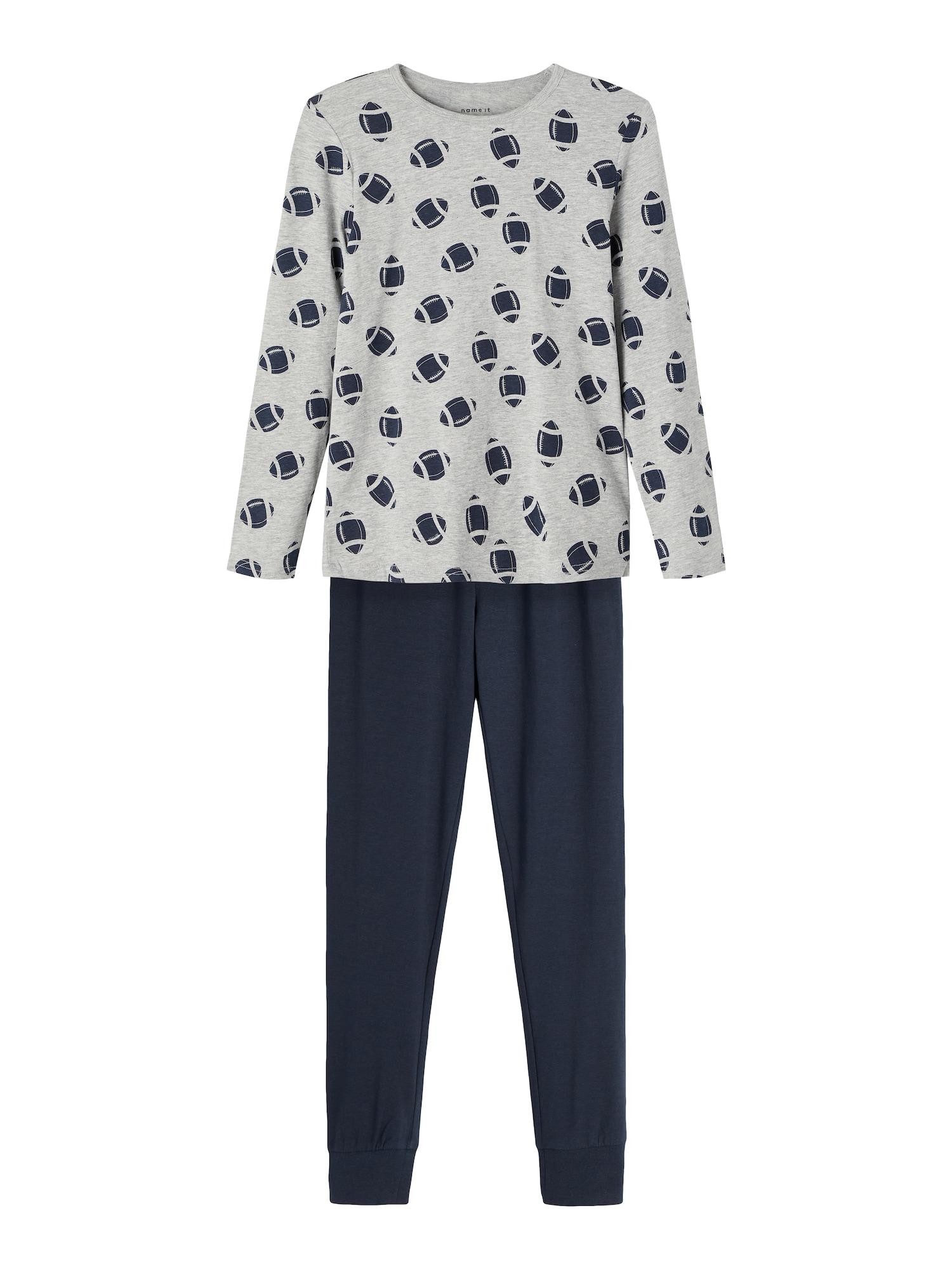 NAME IT Pyžamo  šedý melír / námořnická modř