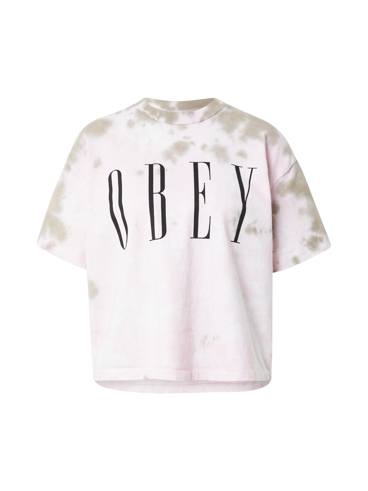 Obey Marškinėliai rožių spalva / juoda / gelsvai pilka spalva