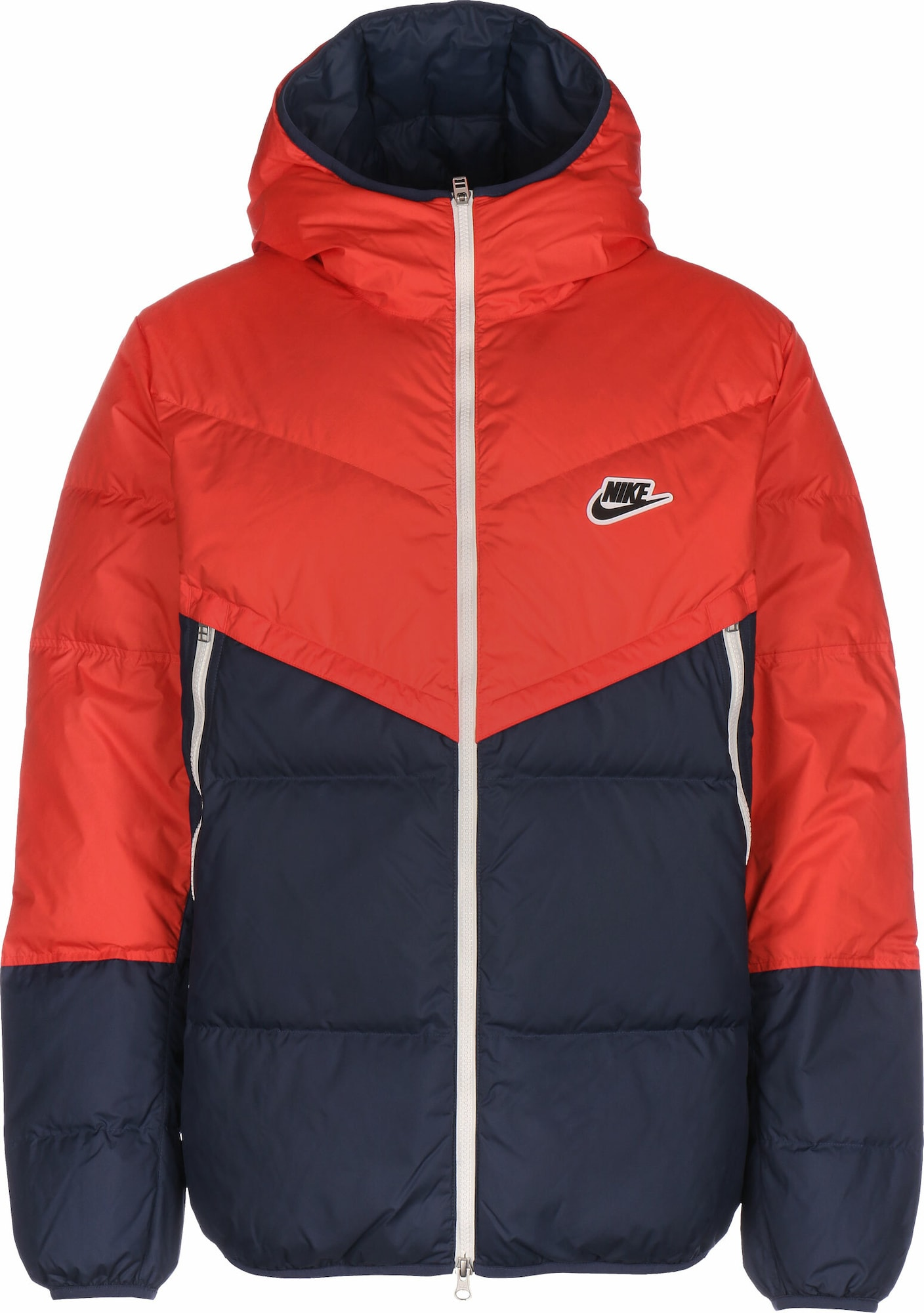 Nike Sportswear Žieminė striukė 'Fill Shield' tamsiai mėlyna / oranžinė-raudona