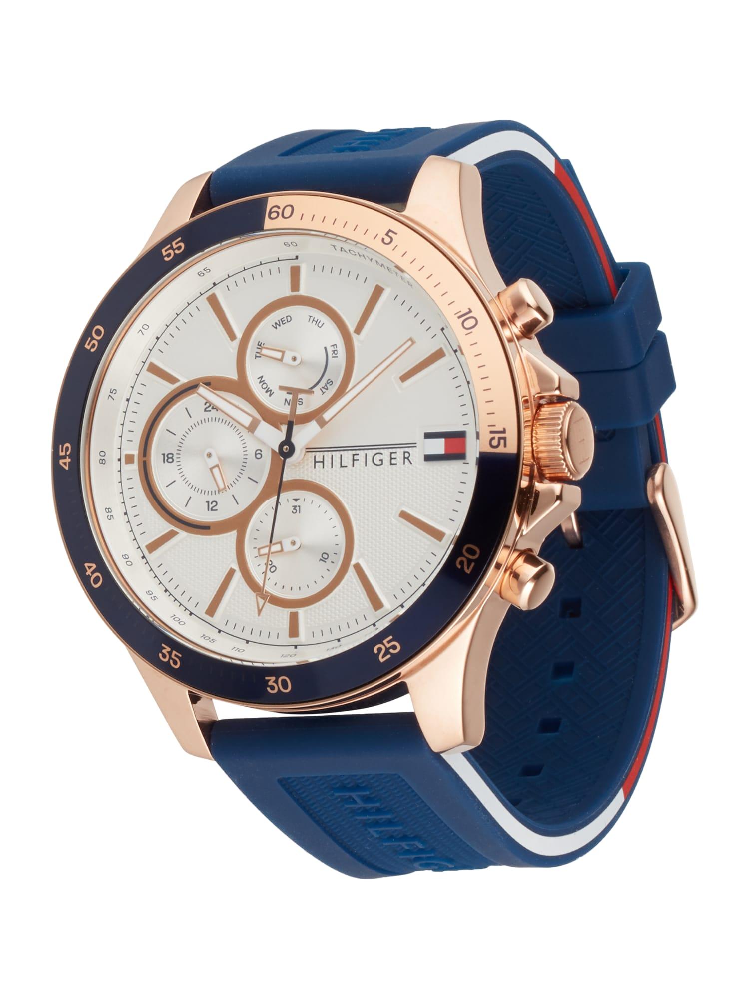 TOMMY HILFIGER Analoginis (įprasto dizaino) laikrodis auksas / gencijono spalva / balta