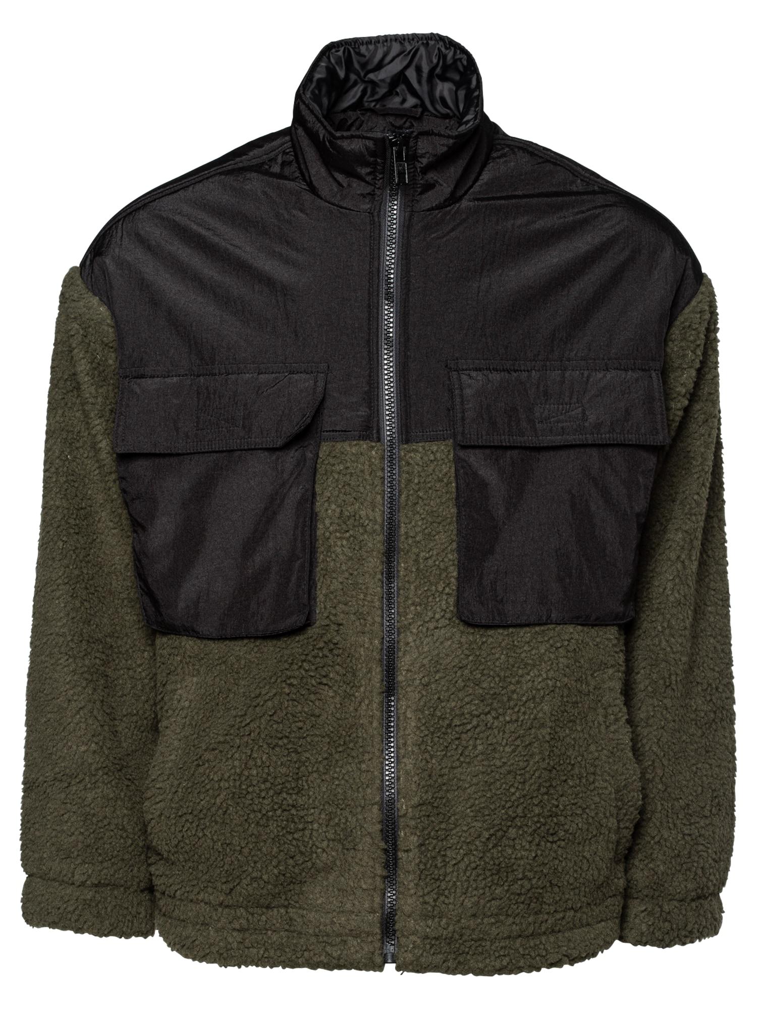 Mennace Flisinis džemperis rusvai žalia / juoda