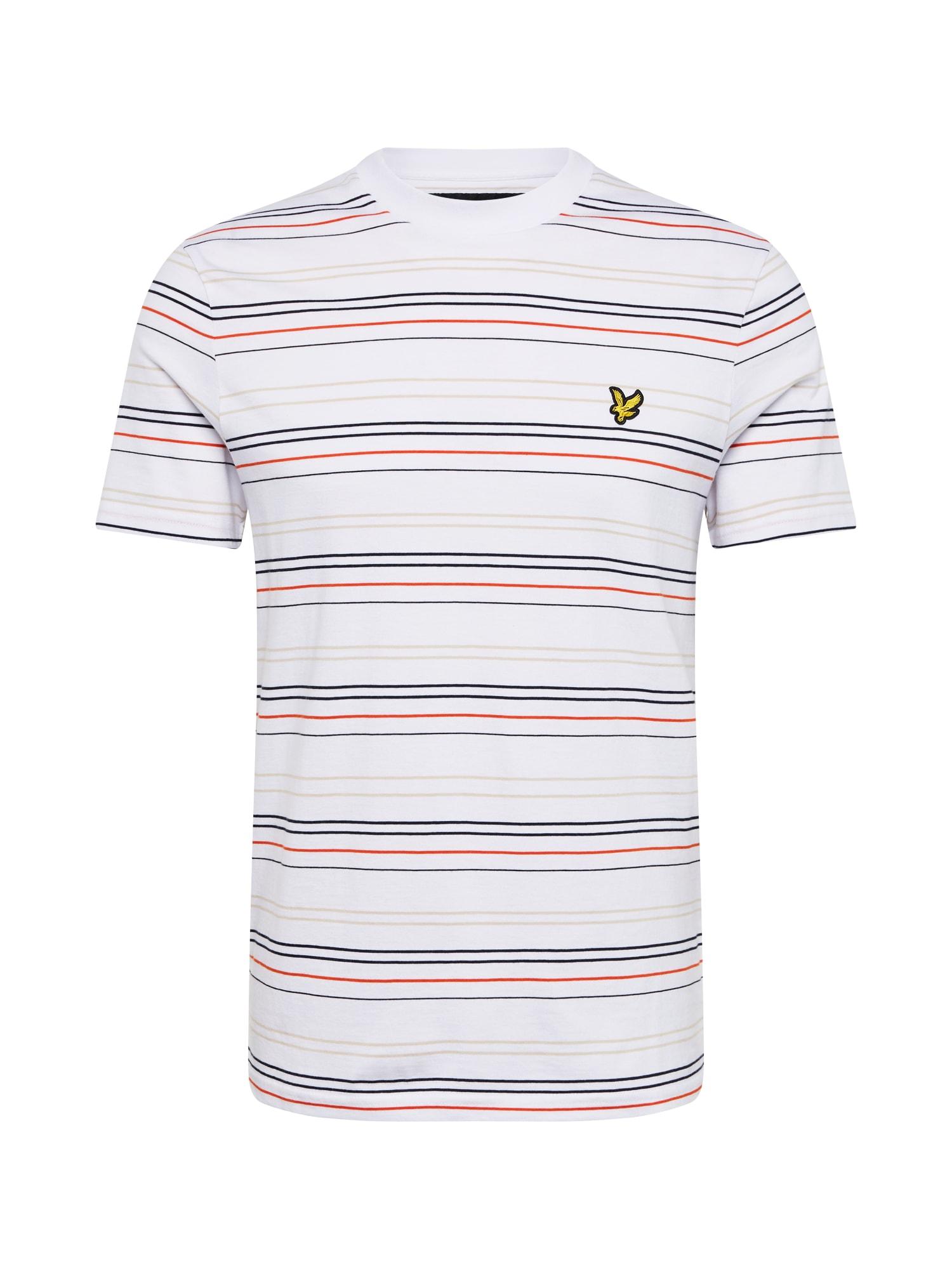 Lyle & Scott Marškinėliai balta / smėlio / juoda / oranžinė-raudona
