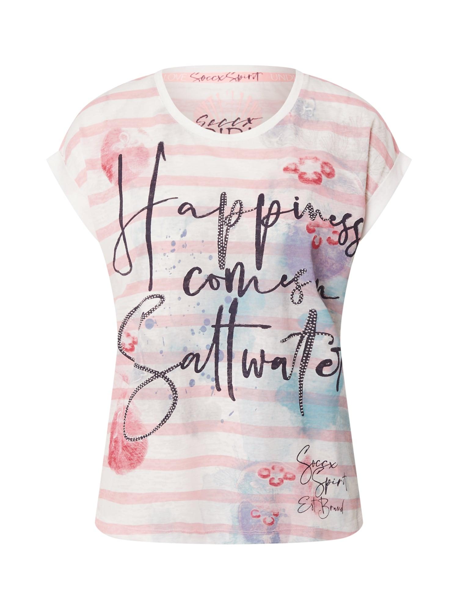 Soccx Marškinėliai balta / šviesiai rožinė / kobalto mėlyna / vyšninė spalva
