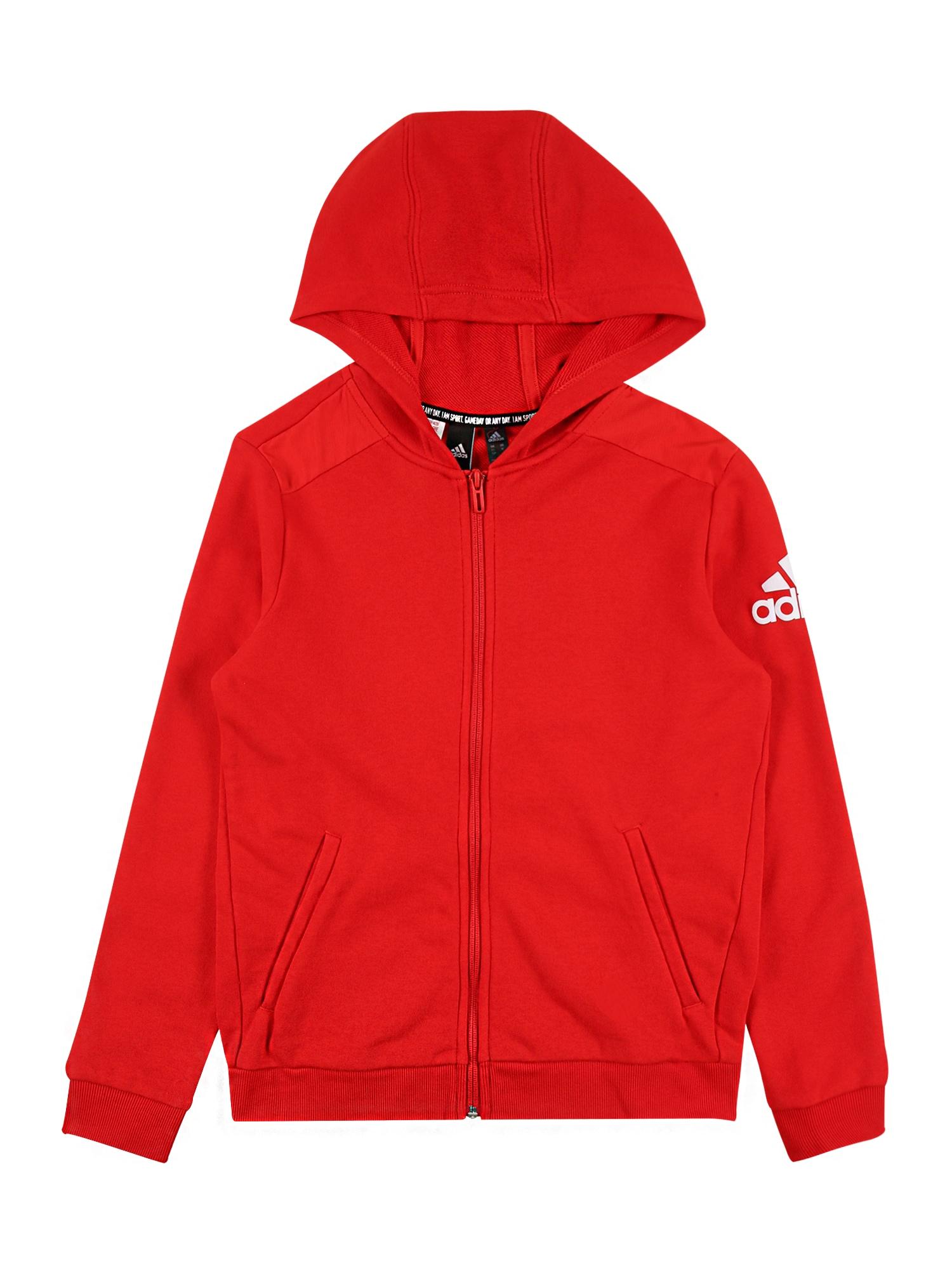 ADIDAS PERFORMANCE Sportinis džemperis šviesiai raudona / balta