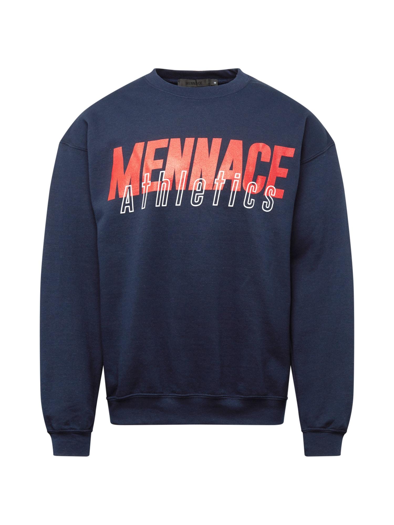 Mennace Megztinis be užsegimo tamsiai mėlyna / neoninė oranžinė / balta