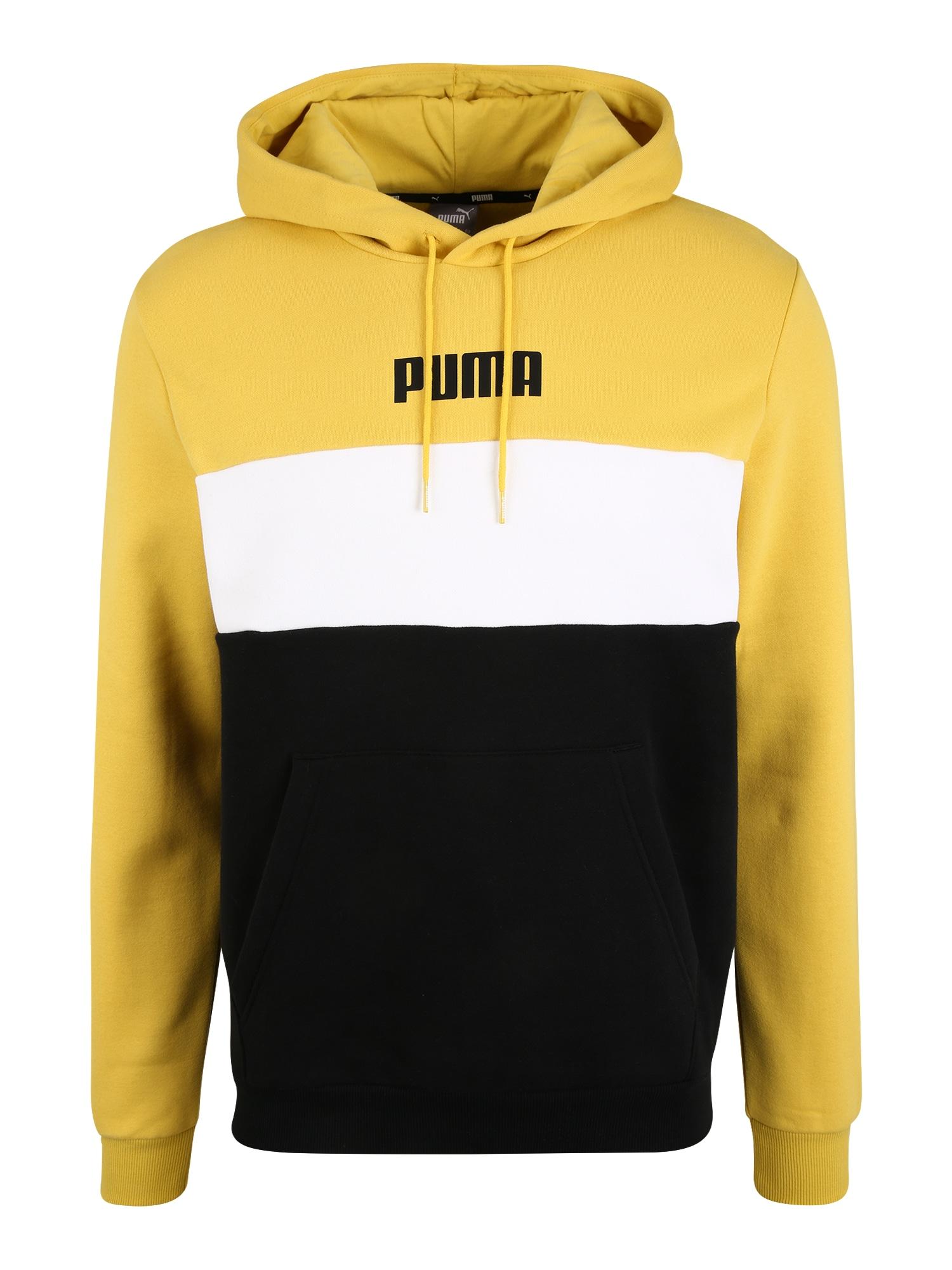 PUMA Sportovní mikina  žlutá / černá / bílá