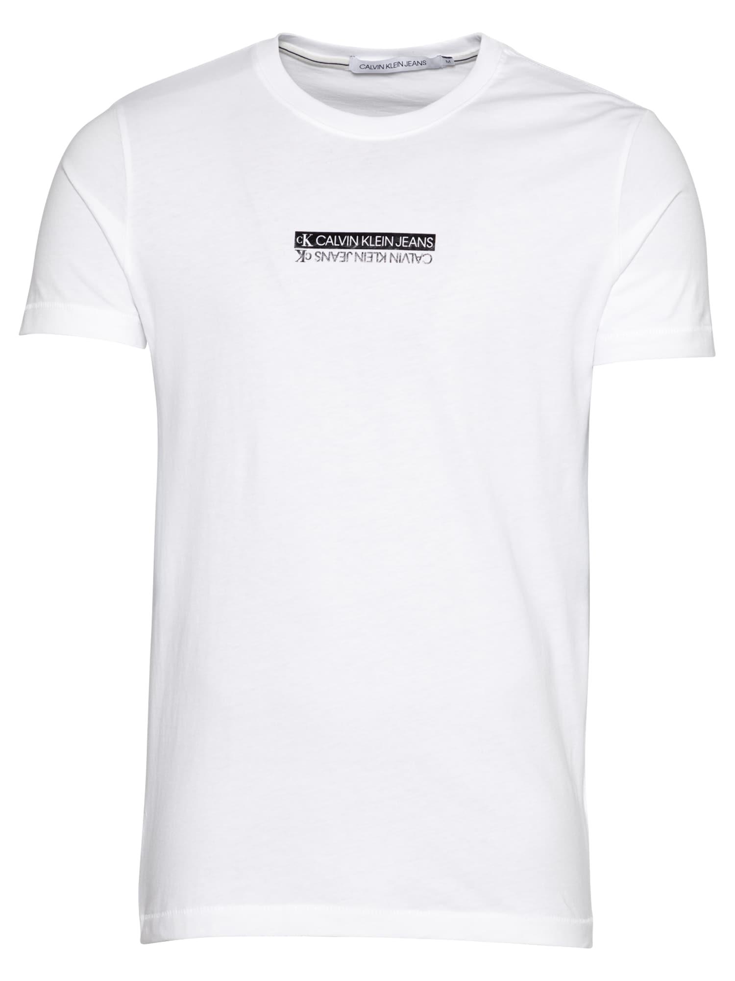 Calvin Klein Jeans Marškinėliai 'Mirror' balta / juoda
