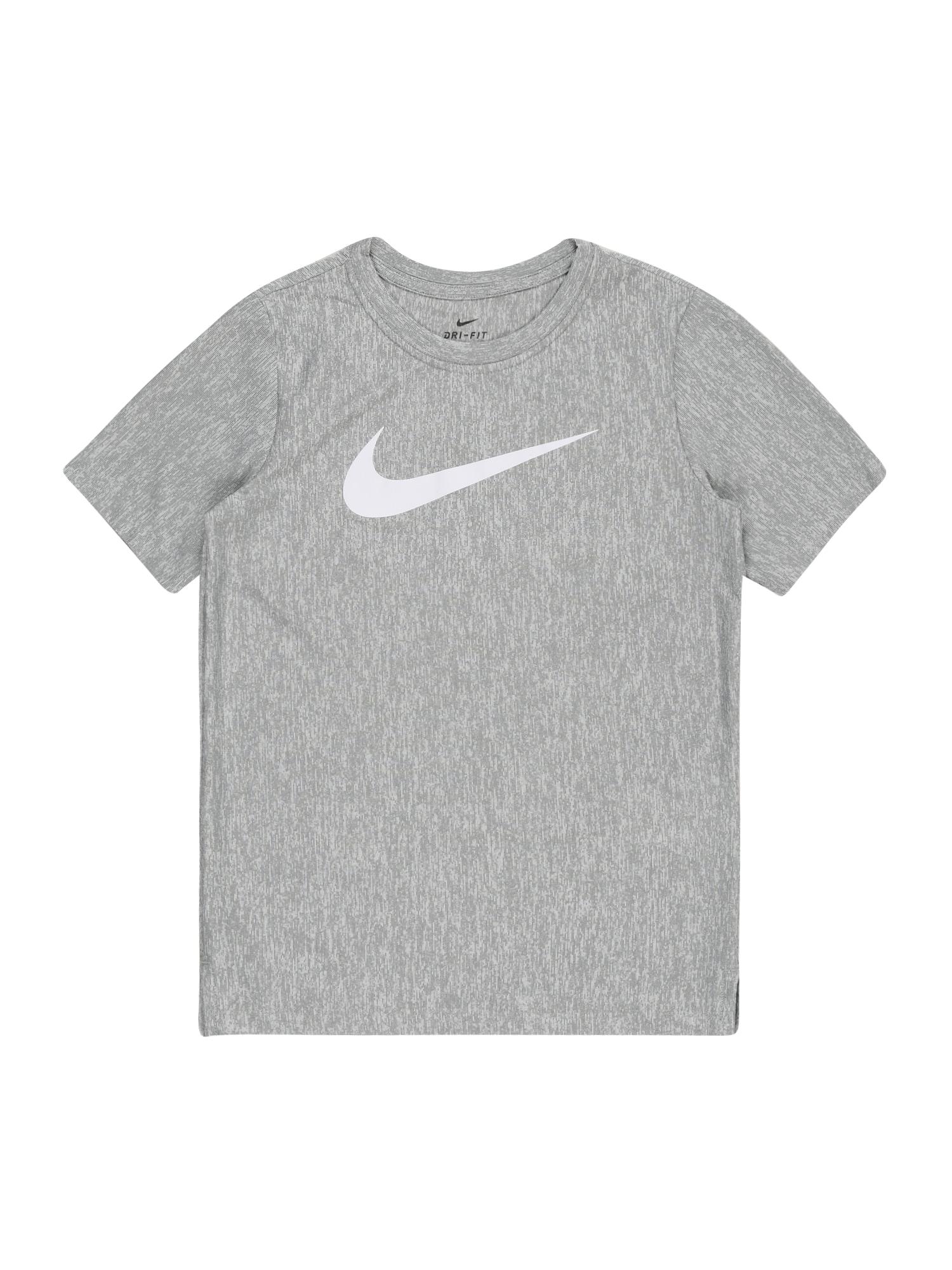 NIKE Funkční tričko  šedý melír / bílá