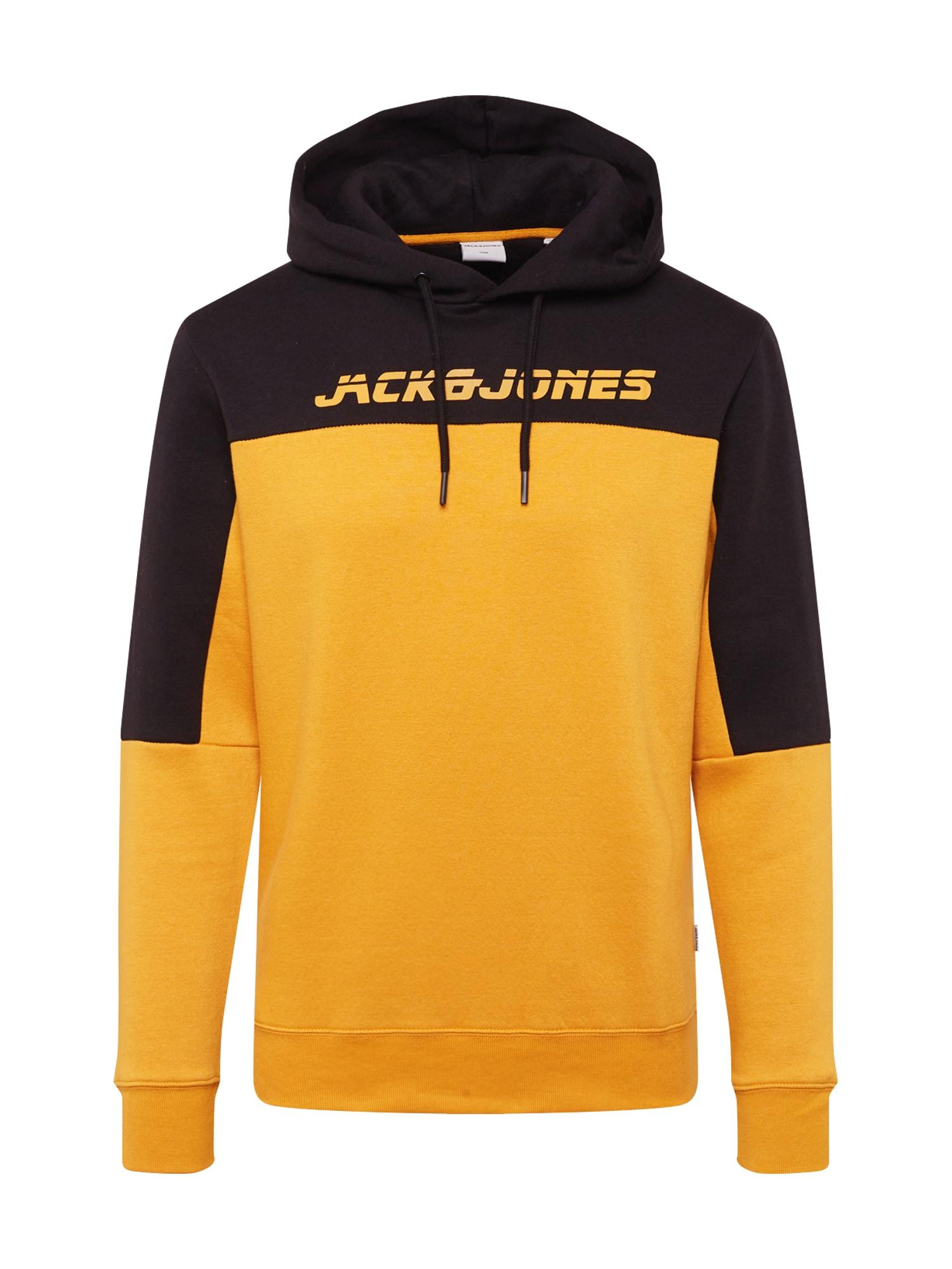 JACK & JONES Mikina 'ASHER'  oranžová / černá