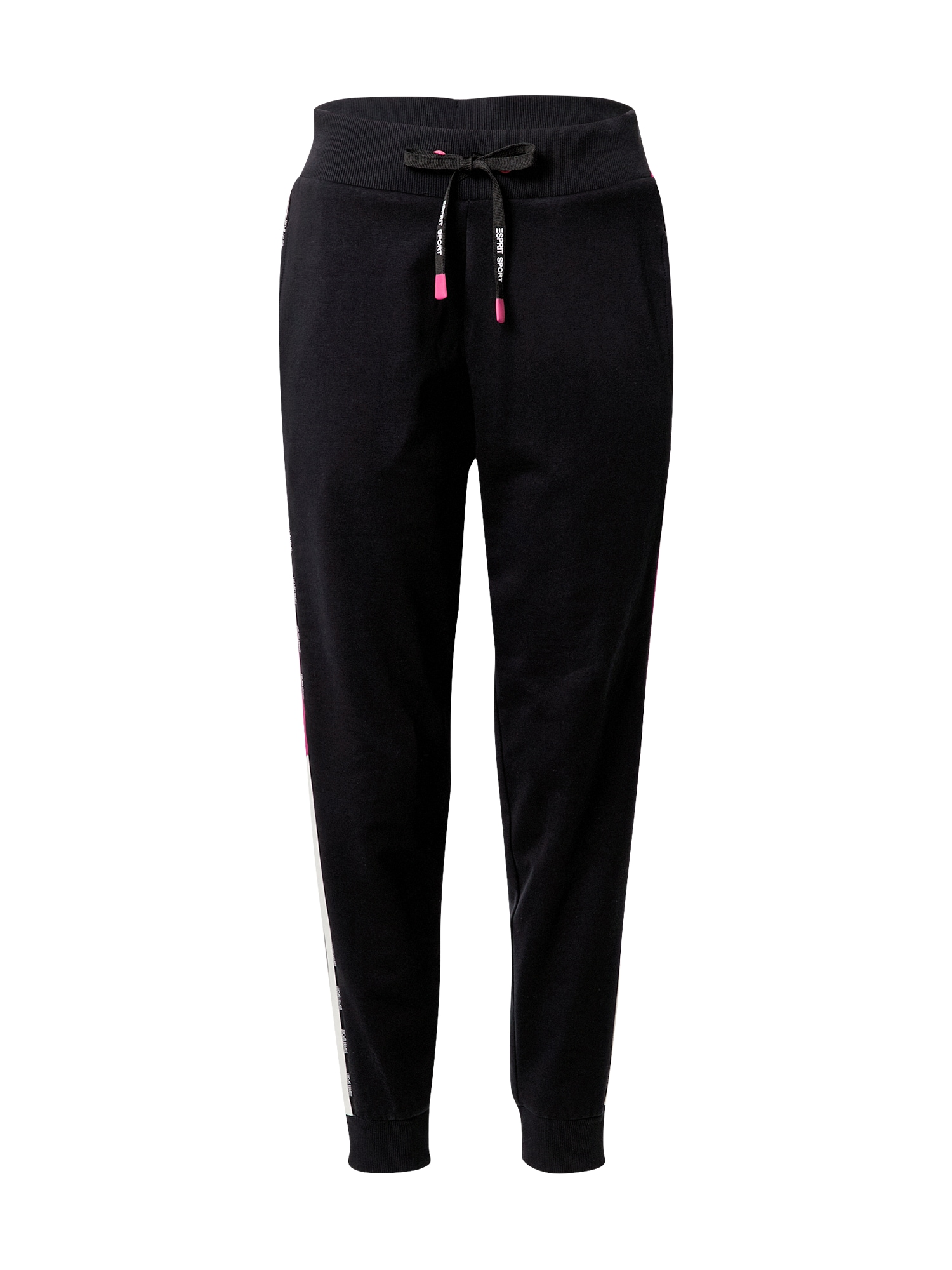 ESPRIT SPORT Sportinės kelnės juoda / ciklameno spalva / balta