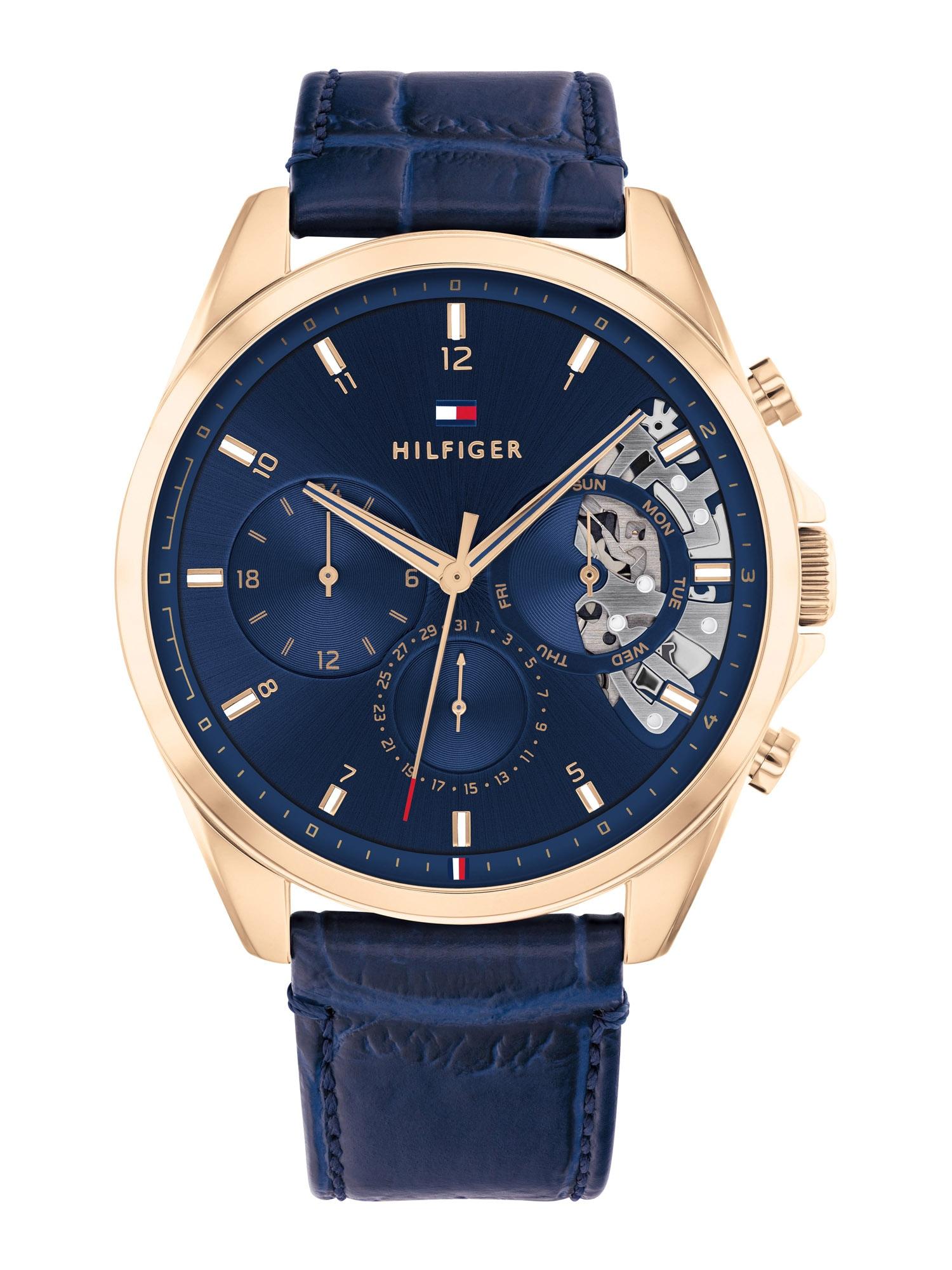 TOMMY HILFIGER Analoginis (įprasto dizaino) laikrodis mėlyna / tamsiai mėlyna jūros spalva / auksas