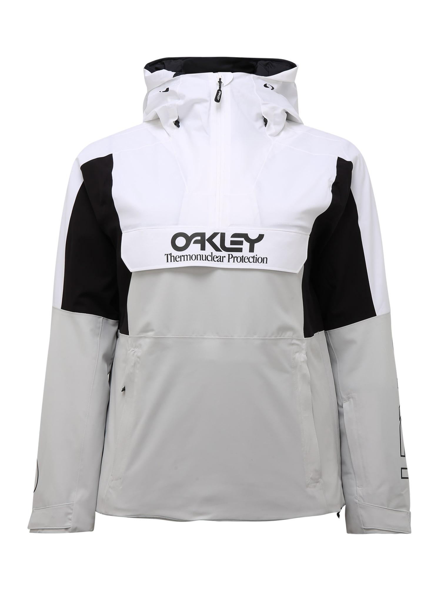OAKLEY Laisvalaikio striukė balta / pilka / juoda