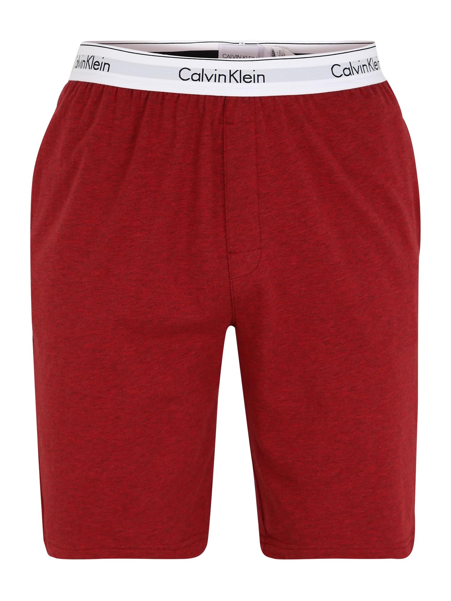 Calvin Klein Underwear Pižaminės kelnės pastelinė raudona / juoda / balta / šviesiai pilka