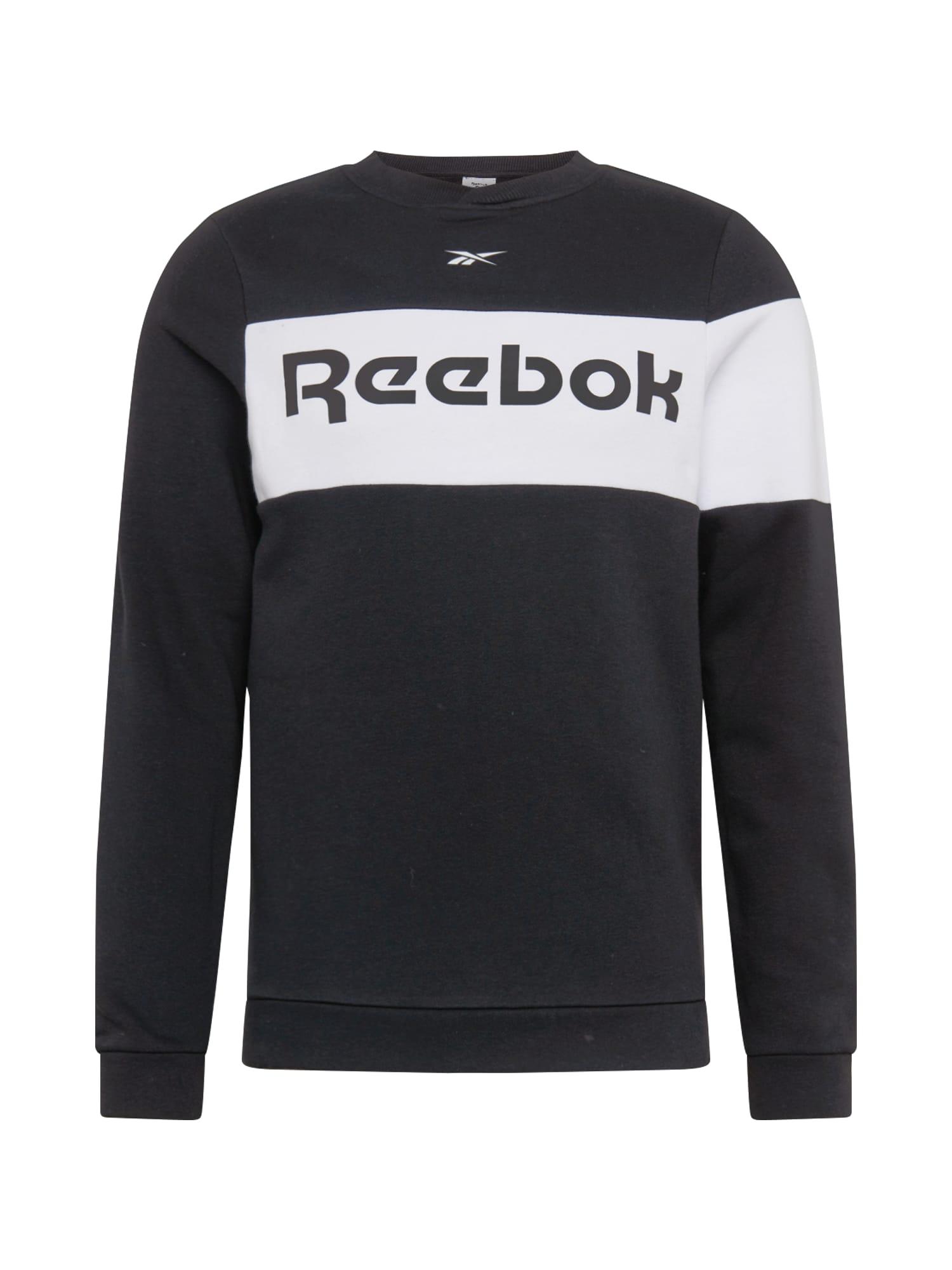 REEBOK Sportovní mikina  černá / bílá