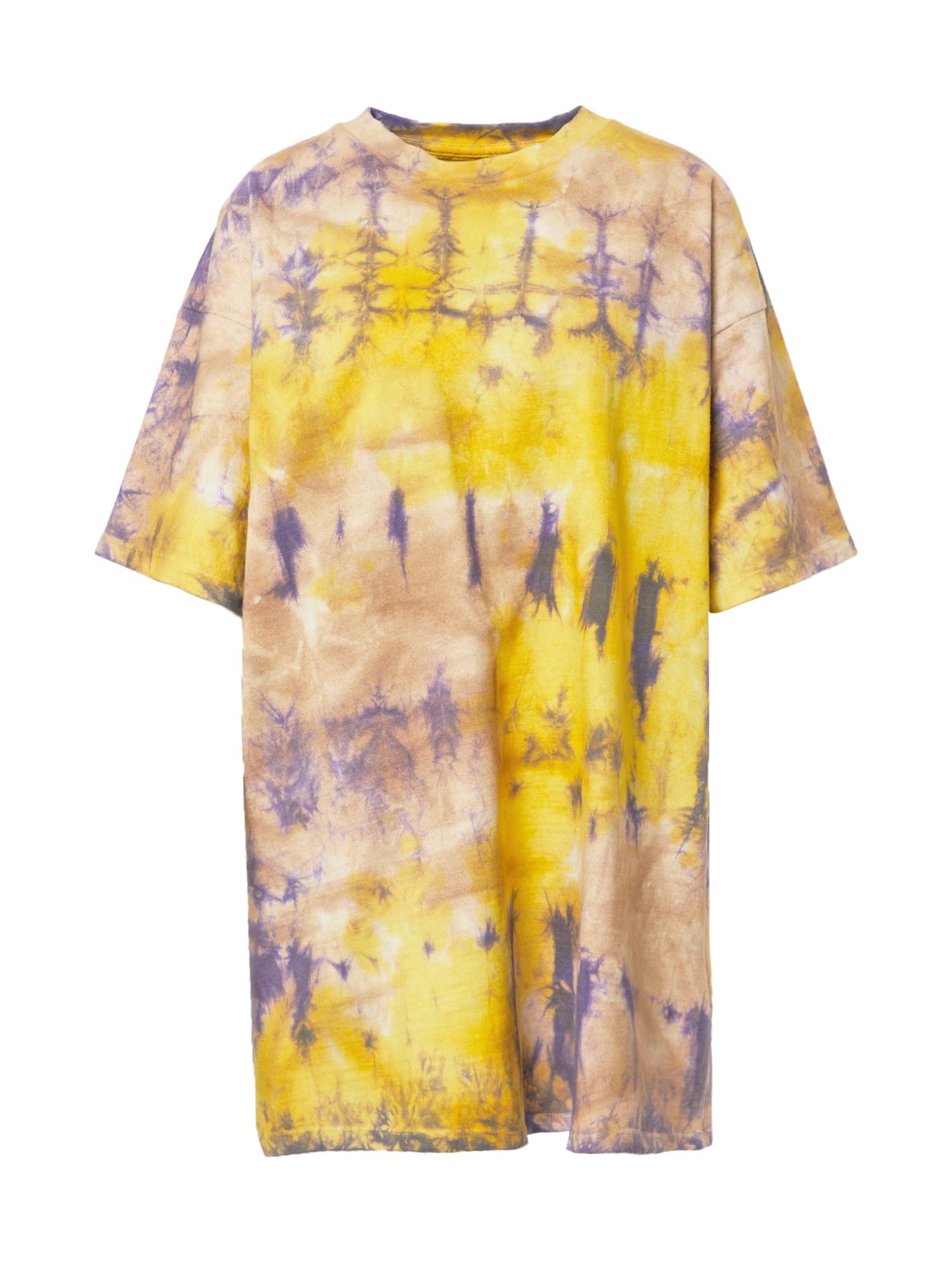 Damson Madder Suknelė geltona / tamsiai mėlyna jūros spalva / balta / gelsvai pilka spalva