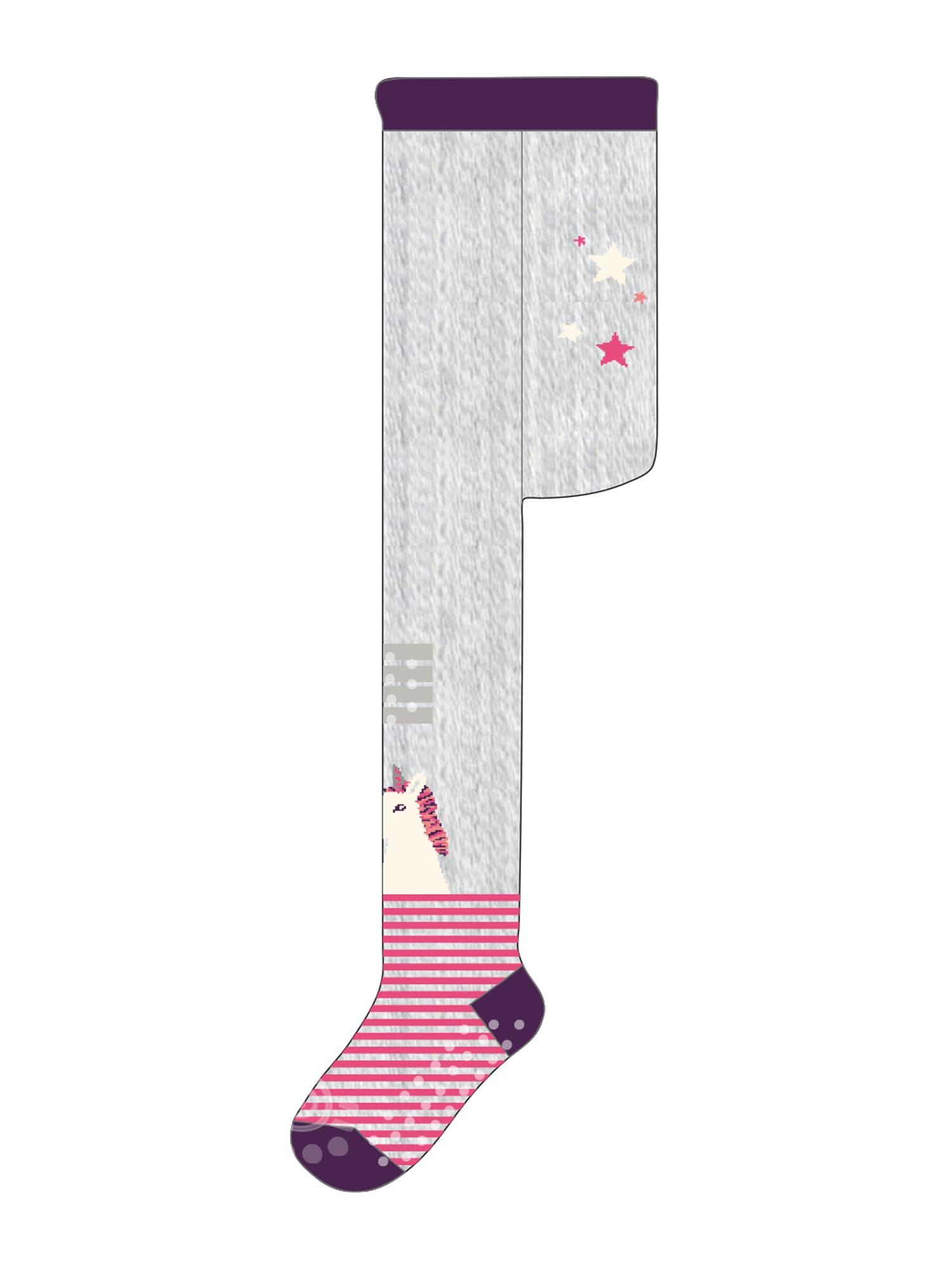 MAXIMO Pėdkelnės 'Einhorn' baklažano spalva / margai pilka / rožinė