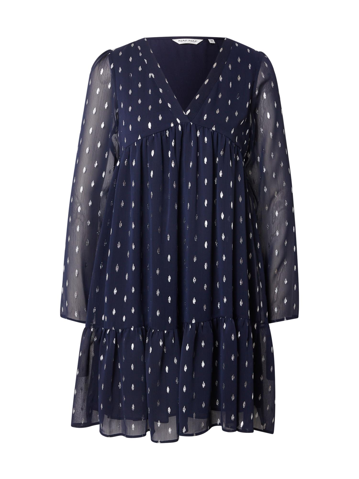 NAF NAF Suknelė tamsiai mėlyna jūros spalva / sidabrinė